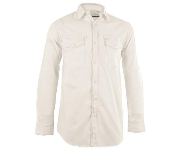 Mens Long Sleeve Inyala Shirt - Orange And White Only