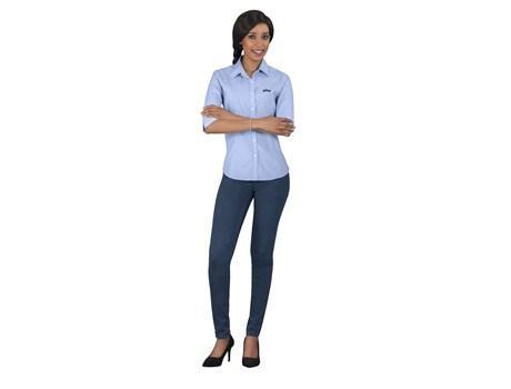 Ladies 3/4 Sleeve Duke Shirt - Light Blue Only