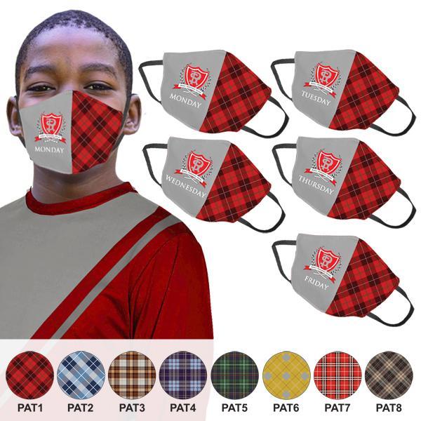 Plaid Kiddo 5 Day 3 Layer Face Masks Fc
