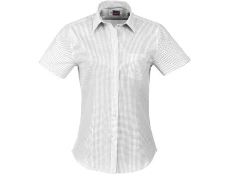 Ladies Short Sleeve Huntington Shirt - White With Black Only