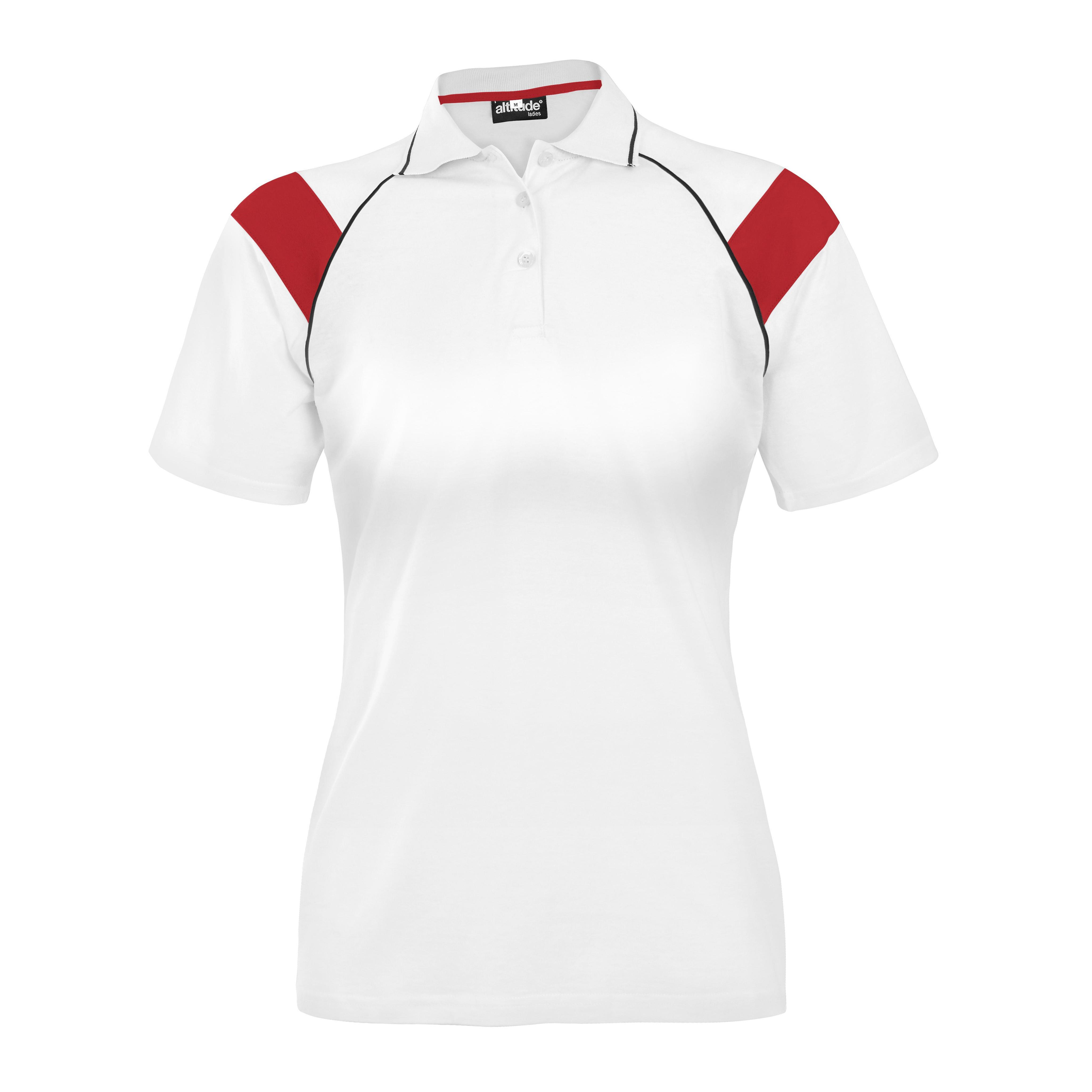 Ladies Score Golf Shirt White And Red Only