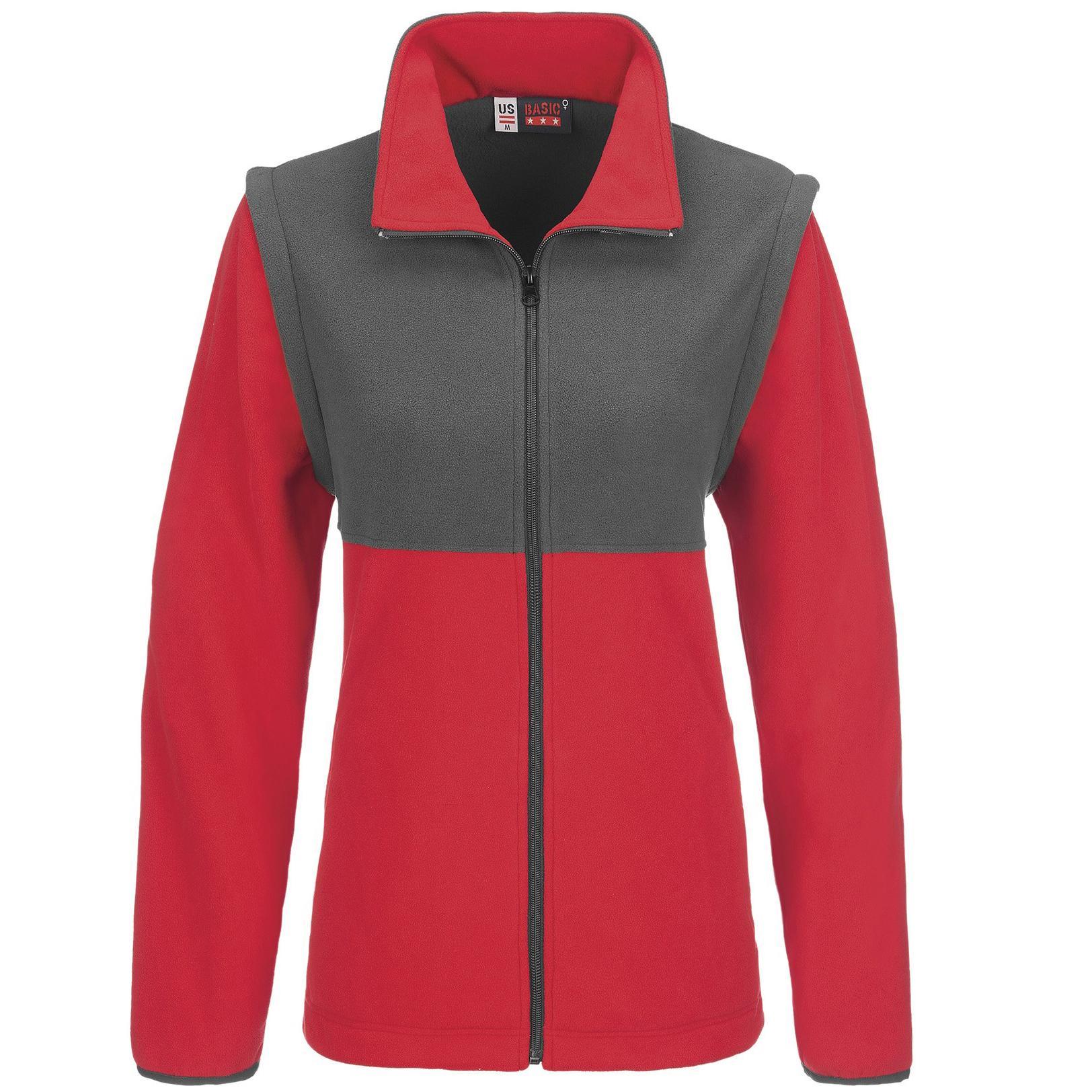 Ladies Benneton Zip-off Micro Fleece Jacket - Red Only