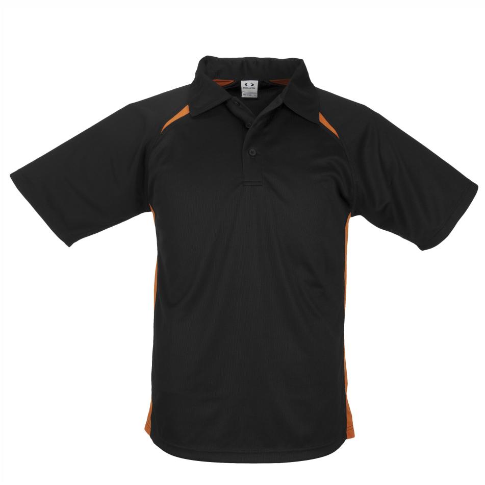 Kids Splice Golf Shirt  - Black Orange Only