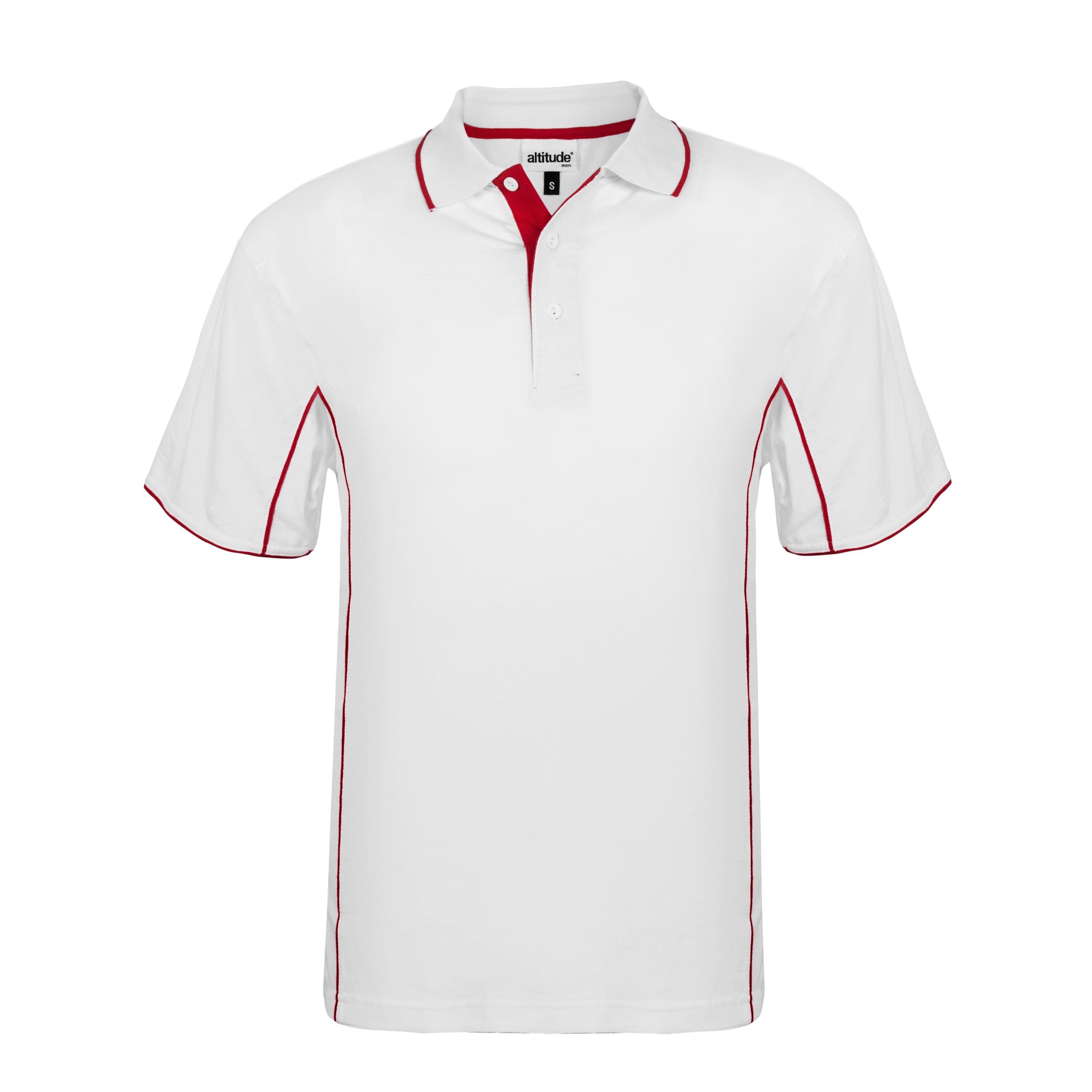 Mens Denver Golf Shirt - White And Red Only