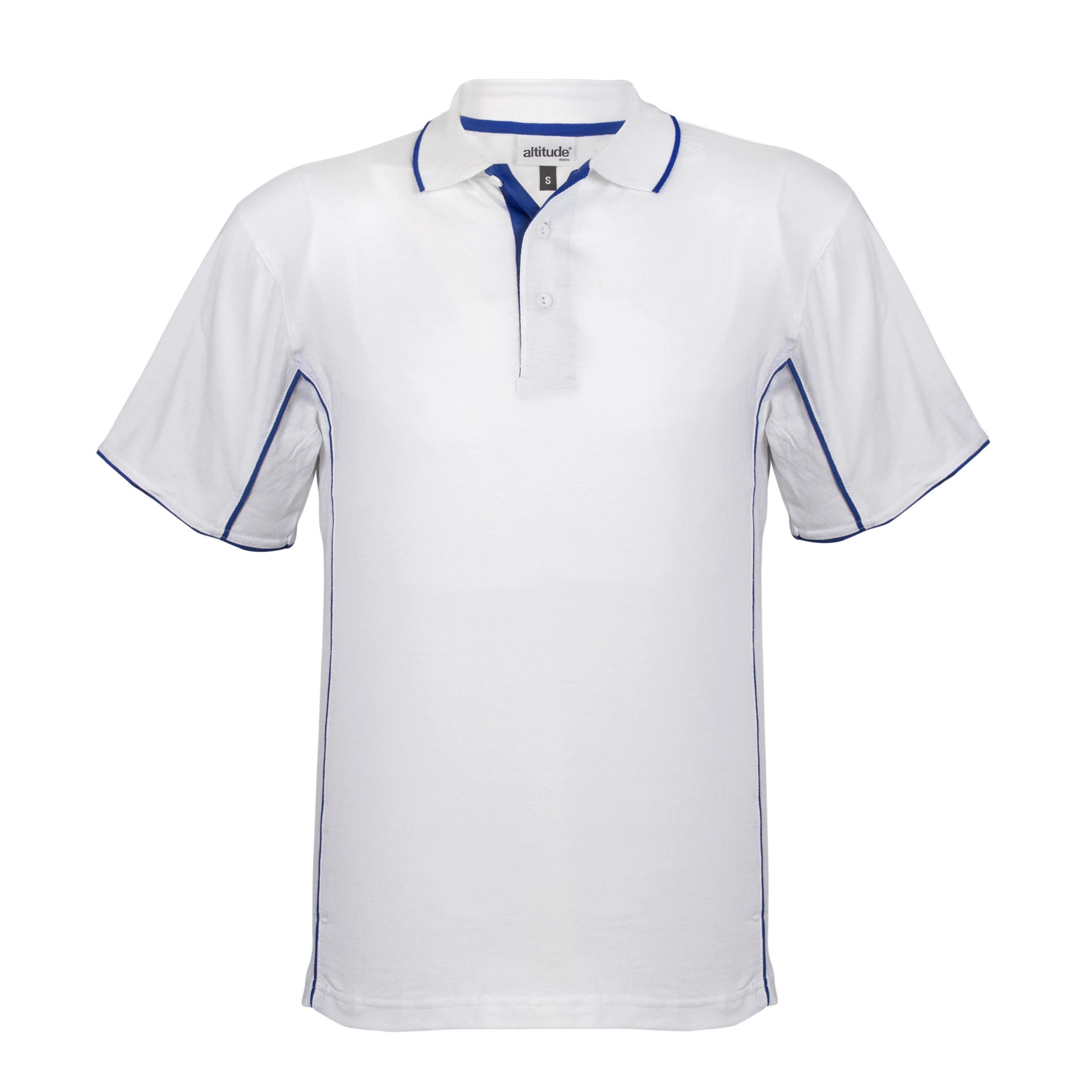 Mens Denver Golf Shirt - White And Blue Only