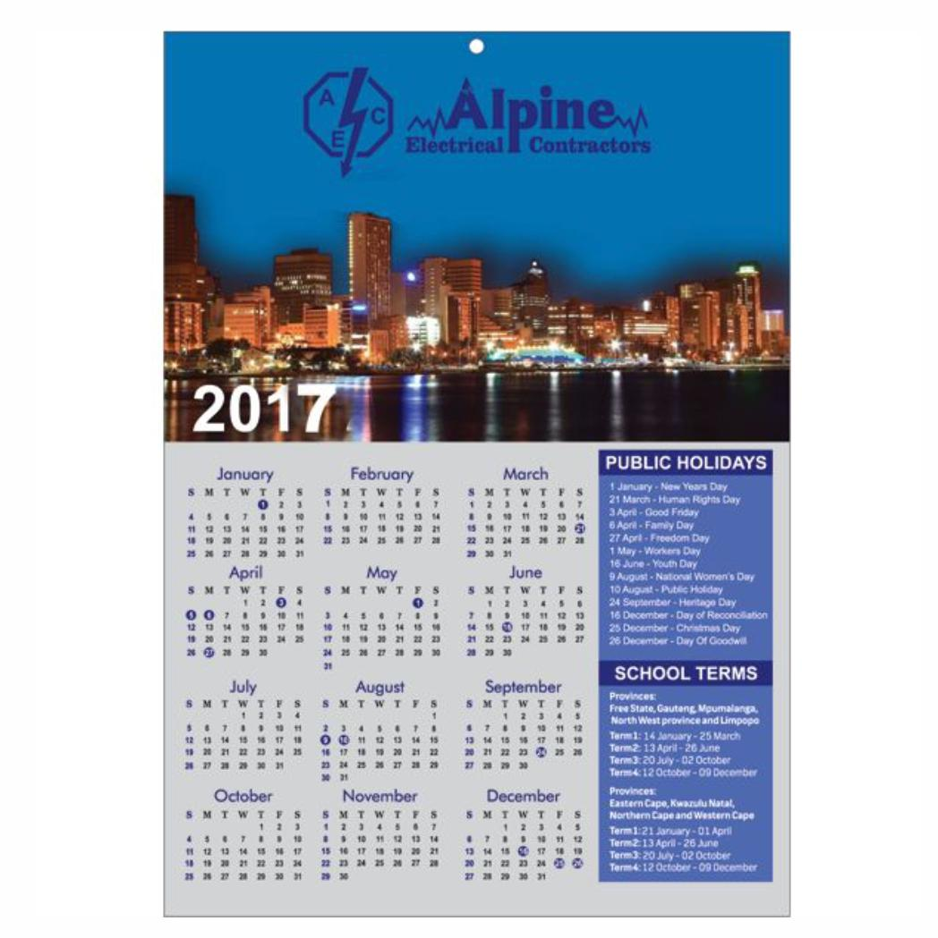 Wall Calendar With Full Colour Single Page
