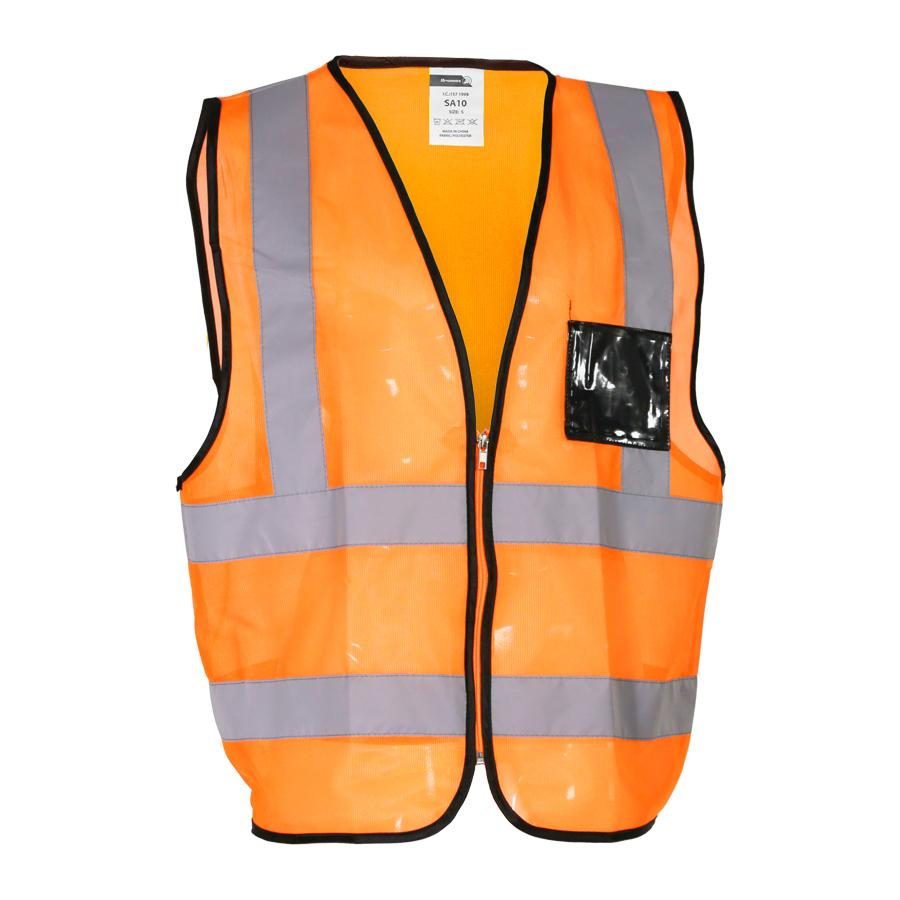 Orange Reflective Vest , Zip, Id Pouch X Large
