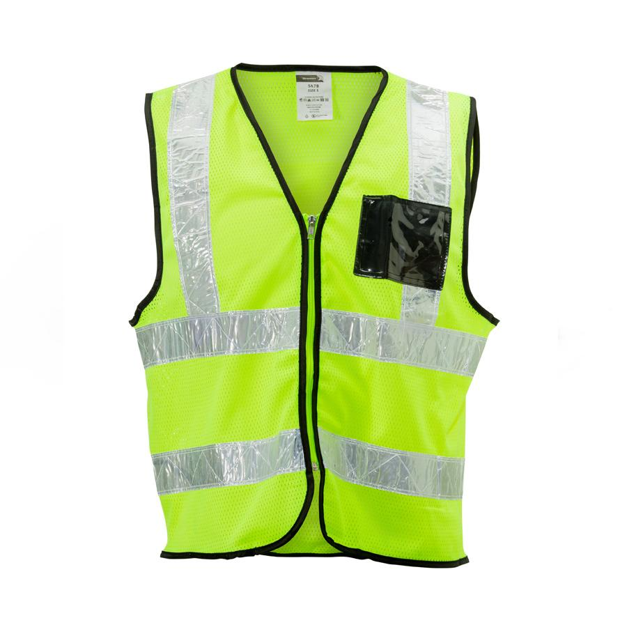 Lime Mesh Vest ,zip, Id, White Pvc Tape, Small
