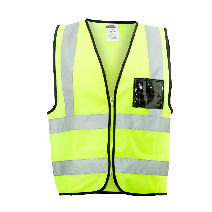 Lime Reflective Vest , Zip, Id Pouch Medium