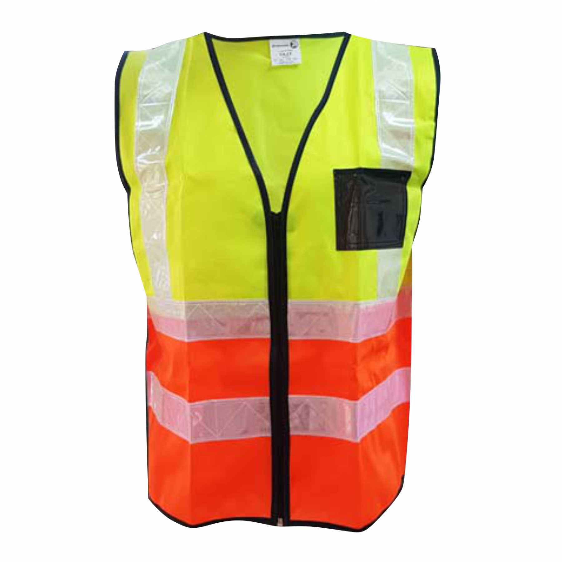 2tone Lime/orange Reflective Vest,zip, Id, White Pvc Tape, Small