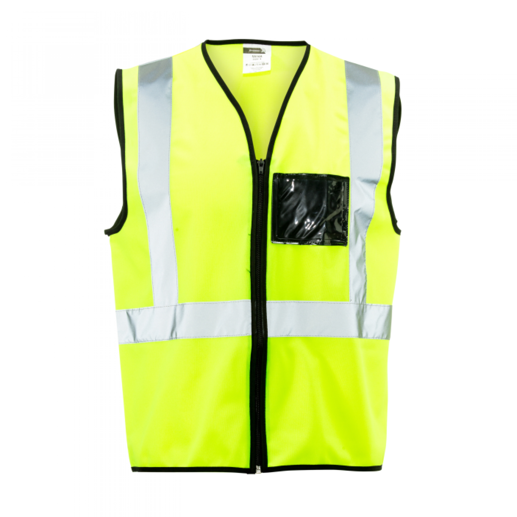 Lime Reflective Vest, Zip, Id Large