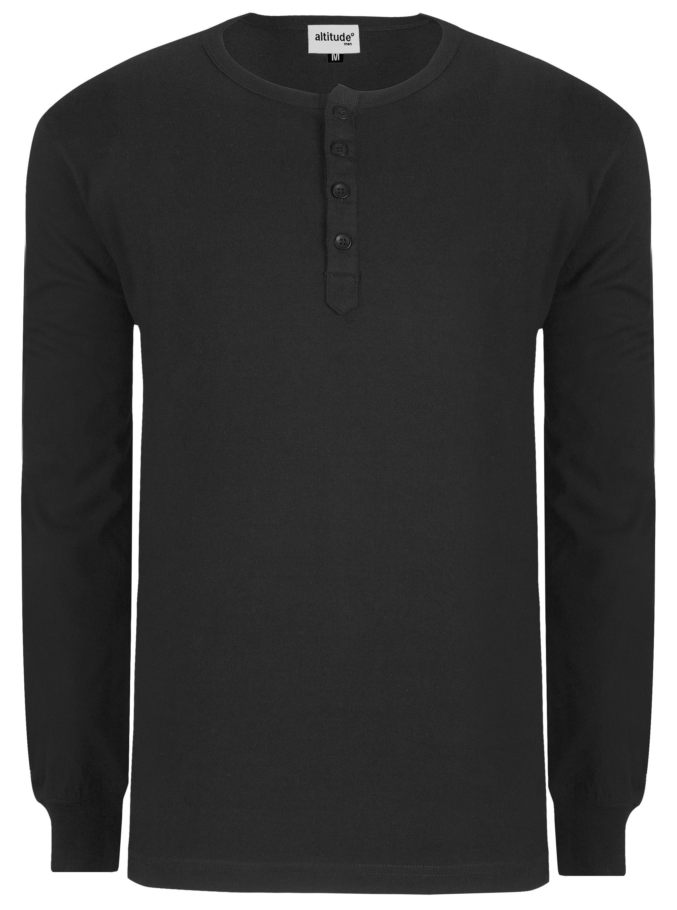 Mens Long Sleeve Henley T-shirt