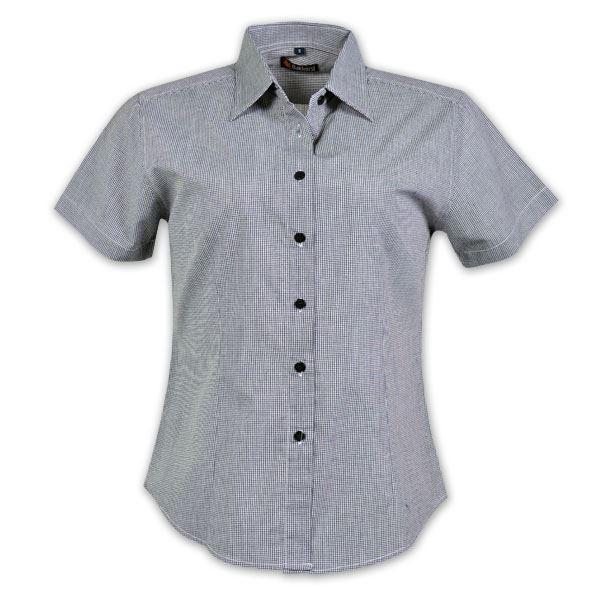 Ladies Microcheck Shirt - Short Sleeve