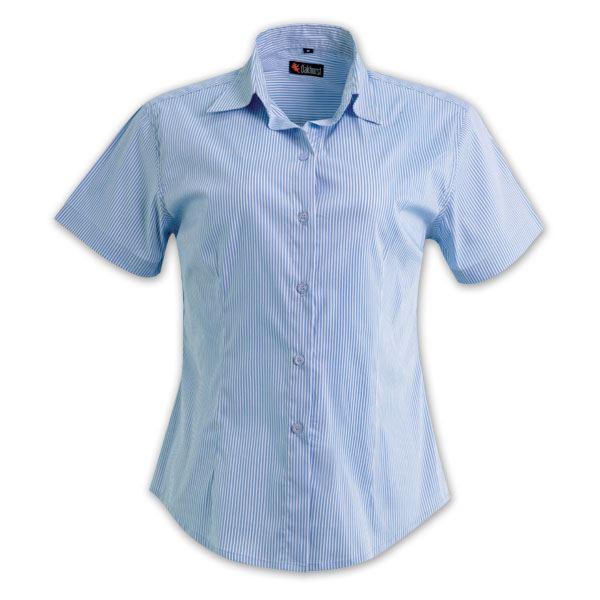 Ladies Vertistripe Woven Shirt Short Sleeve