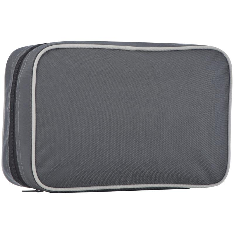 Polyester Toiletry Bag With A Practical Hook And Multiple Compartments.