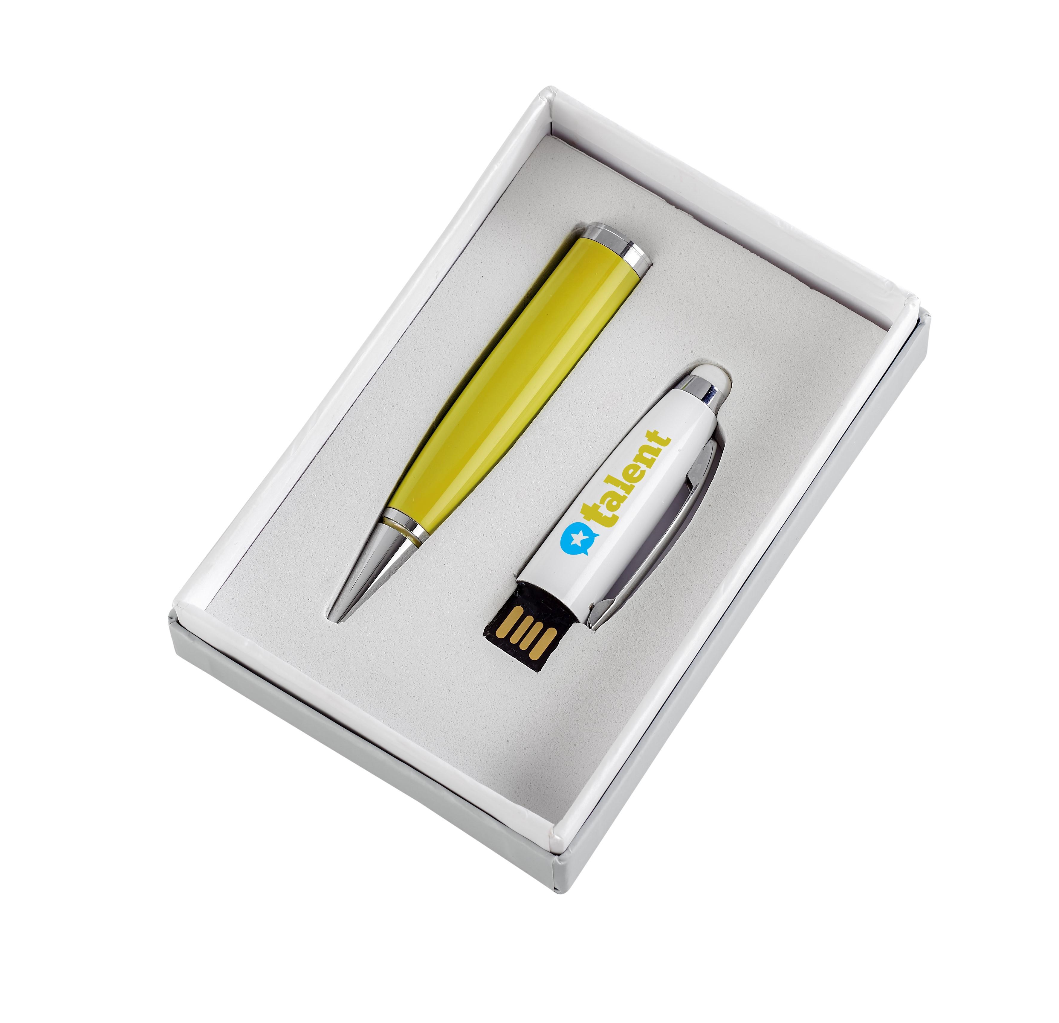 Pentagon White Usb Pen & Stylus - Yellow Only