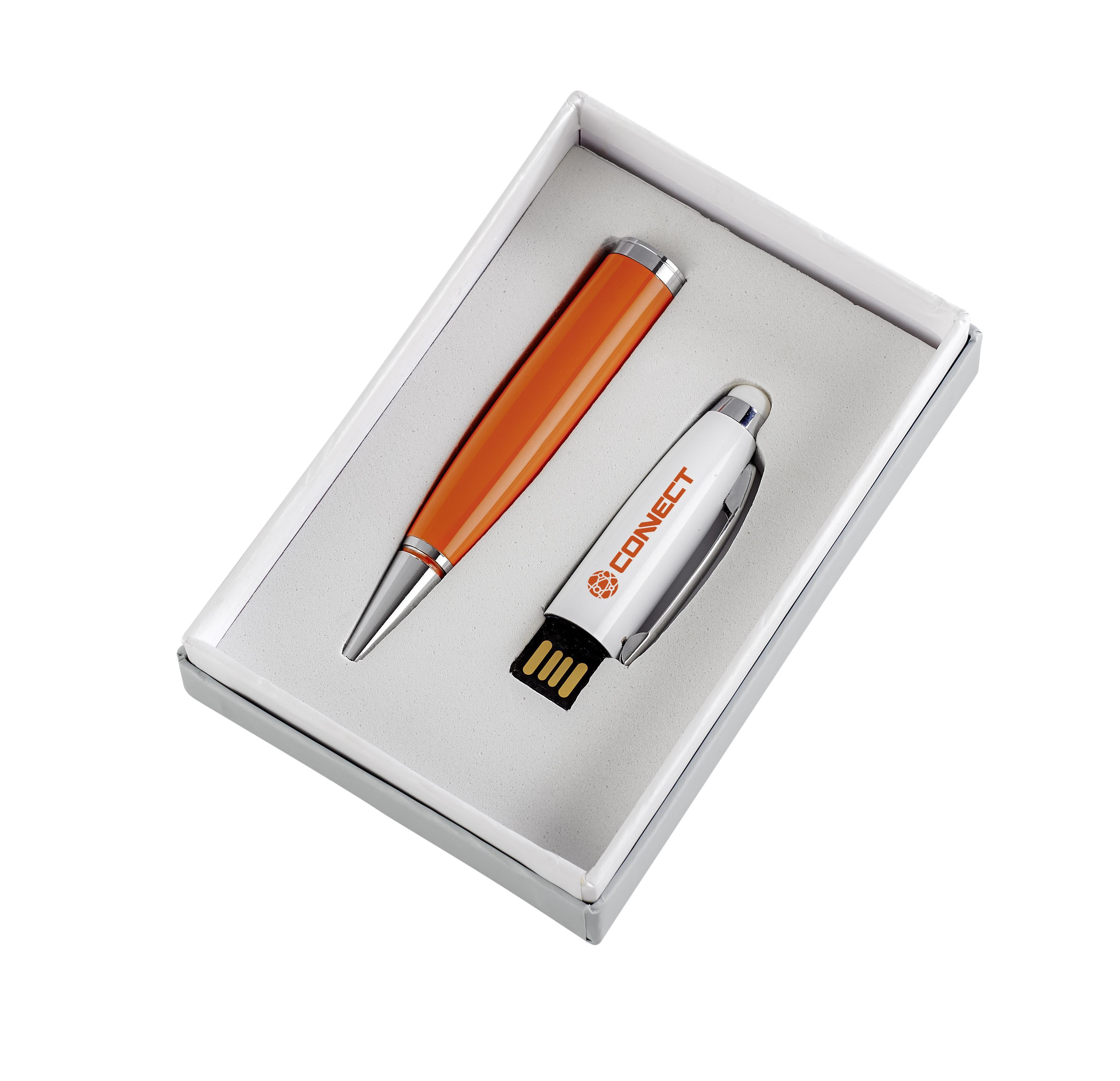 Pentagon White Usb Pen & Stylus - Orange Only