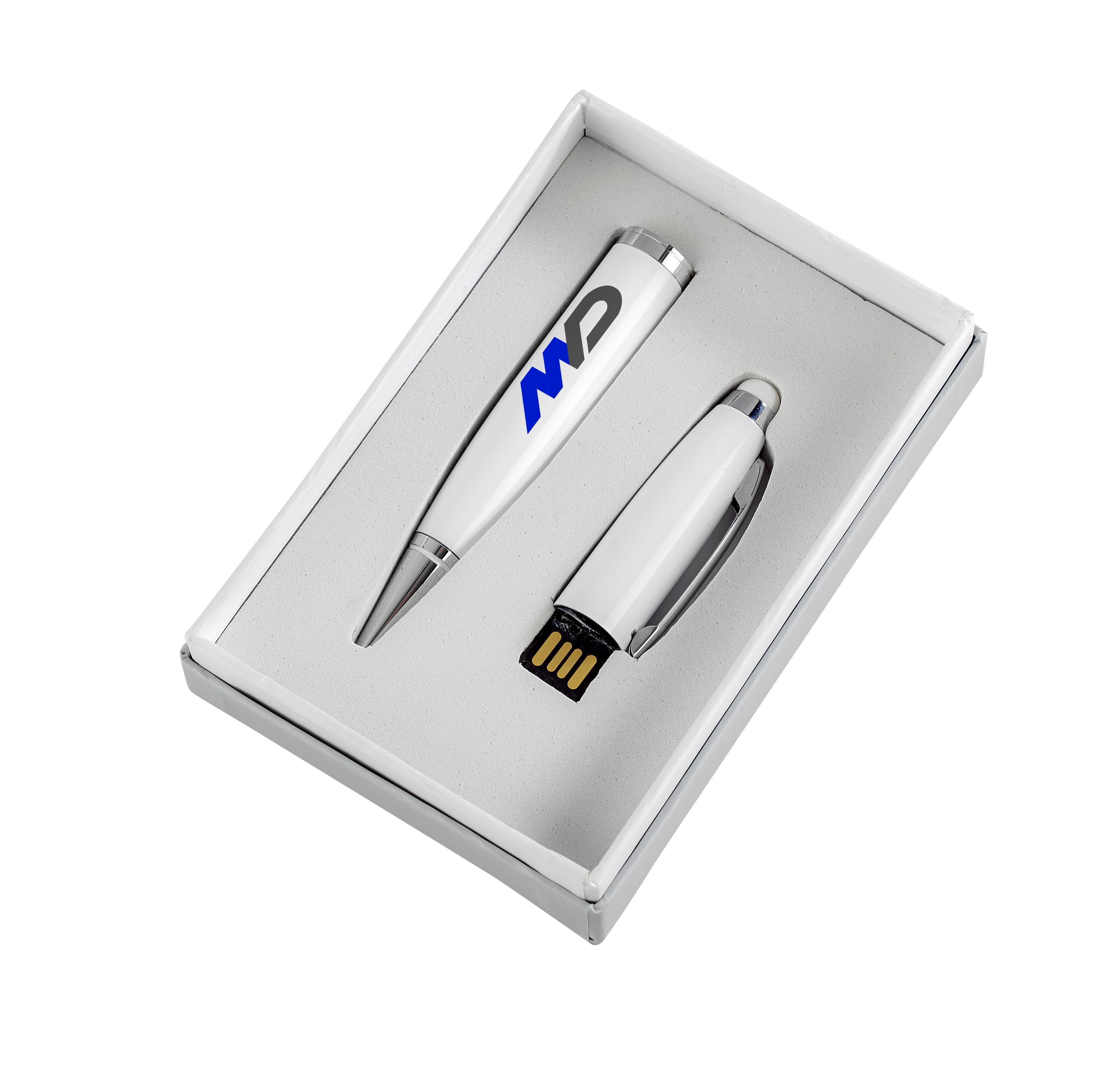 Pentagon White Usb Pen & Stylus - Solid White Only