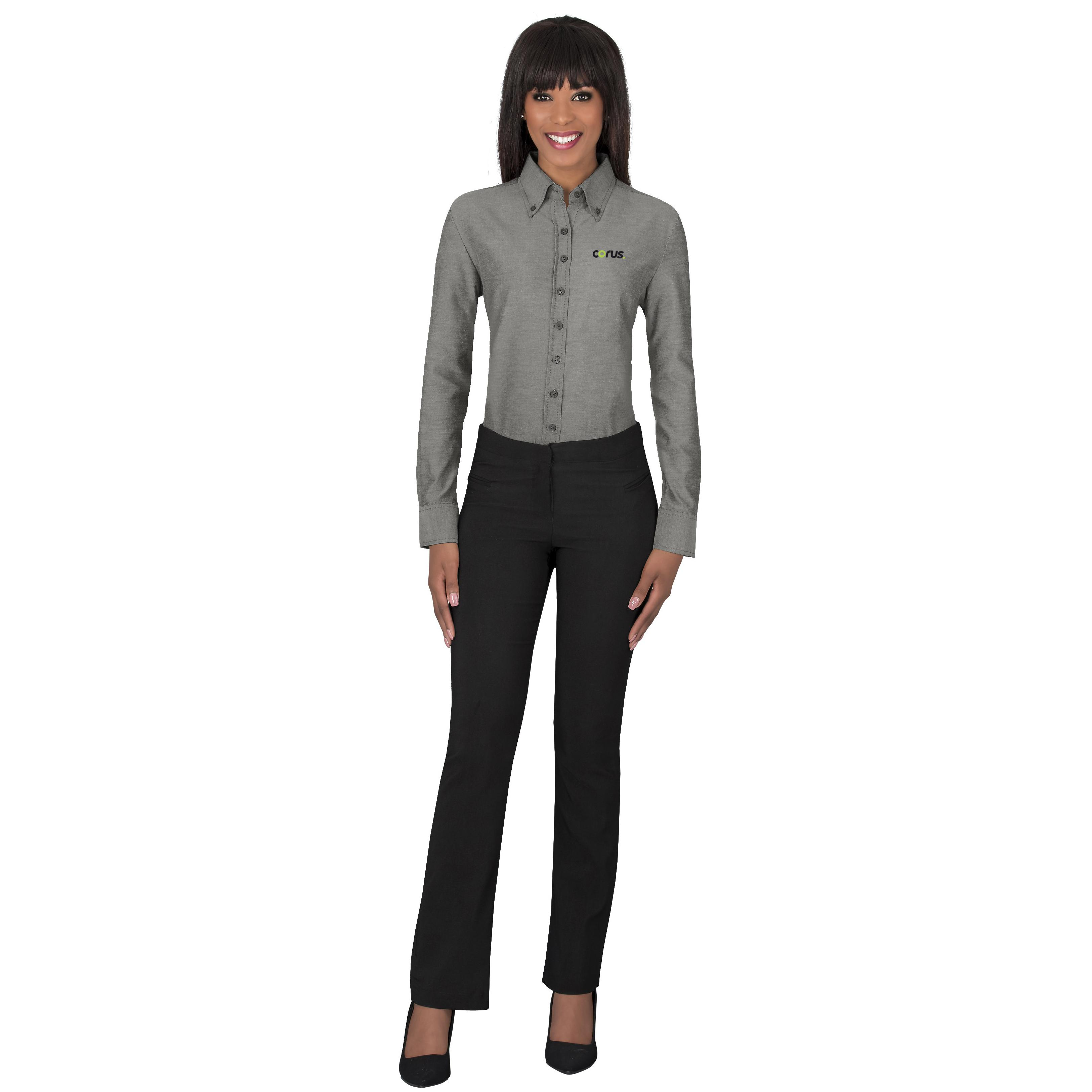 Ladies Long Sleeve Oxford Shirt - Charcoal Only