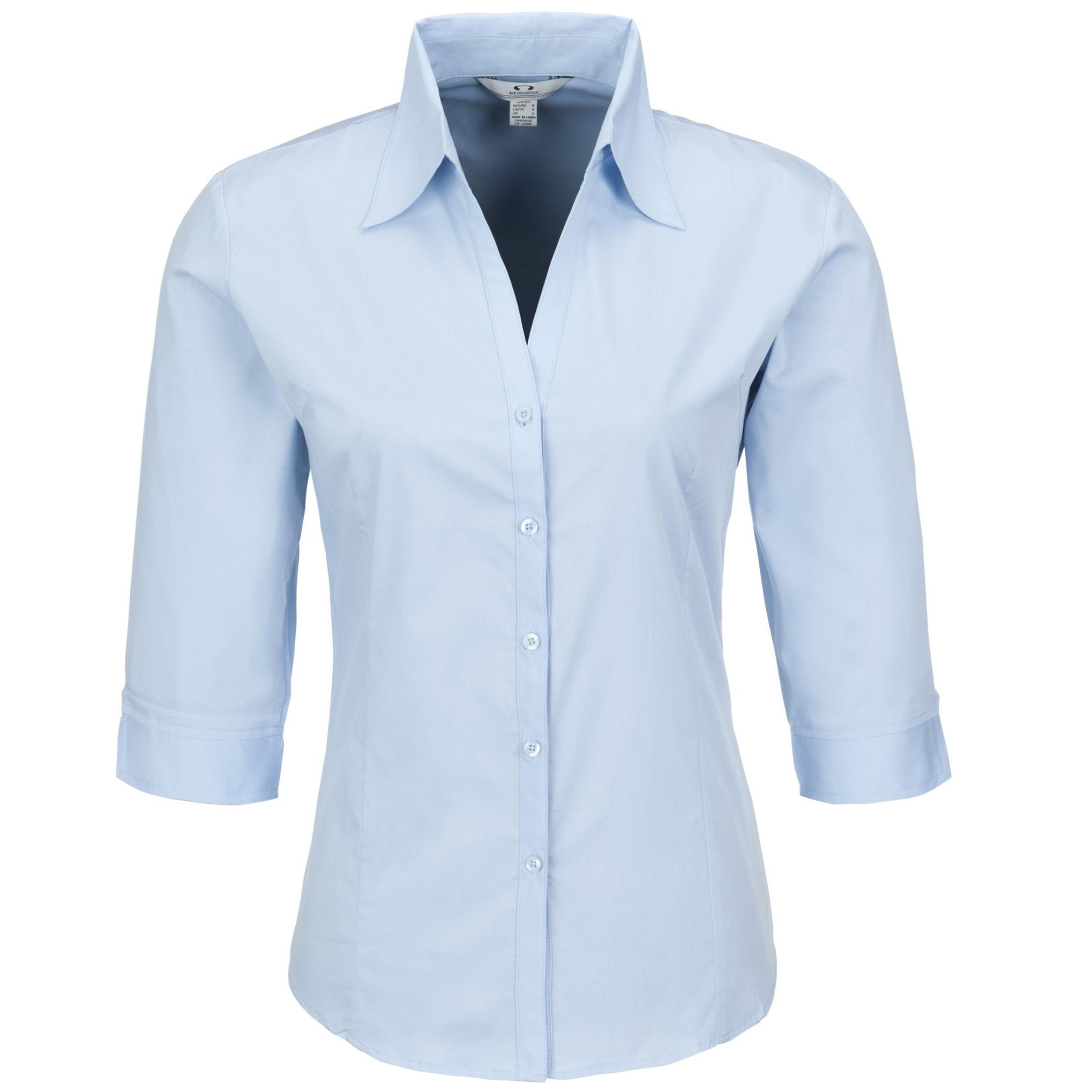 Ladies 3/4 Sleeve Metro Shirt - Light Blue Only