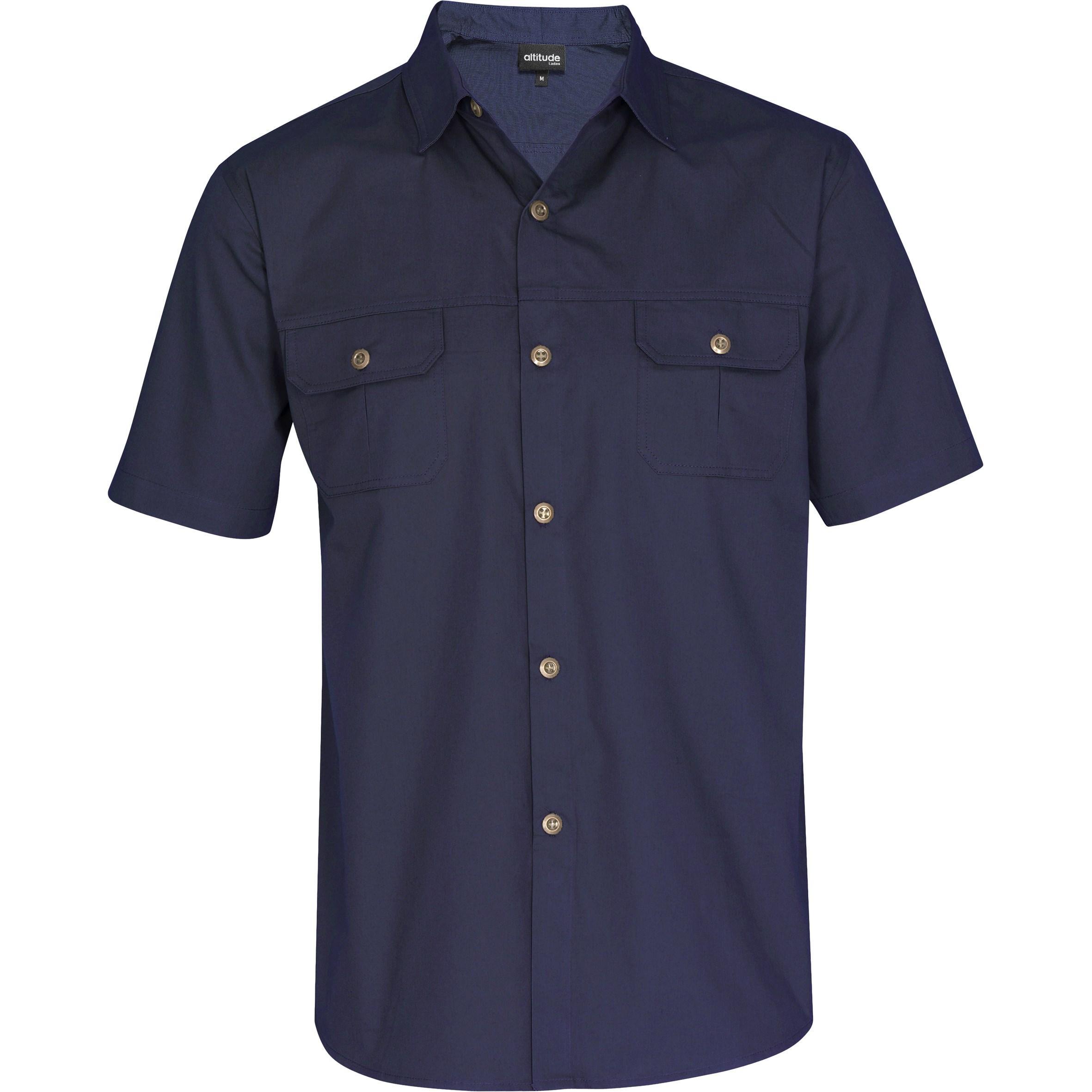 Mens Short Sleeve Oryx Bush Shirt - Navy Only