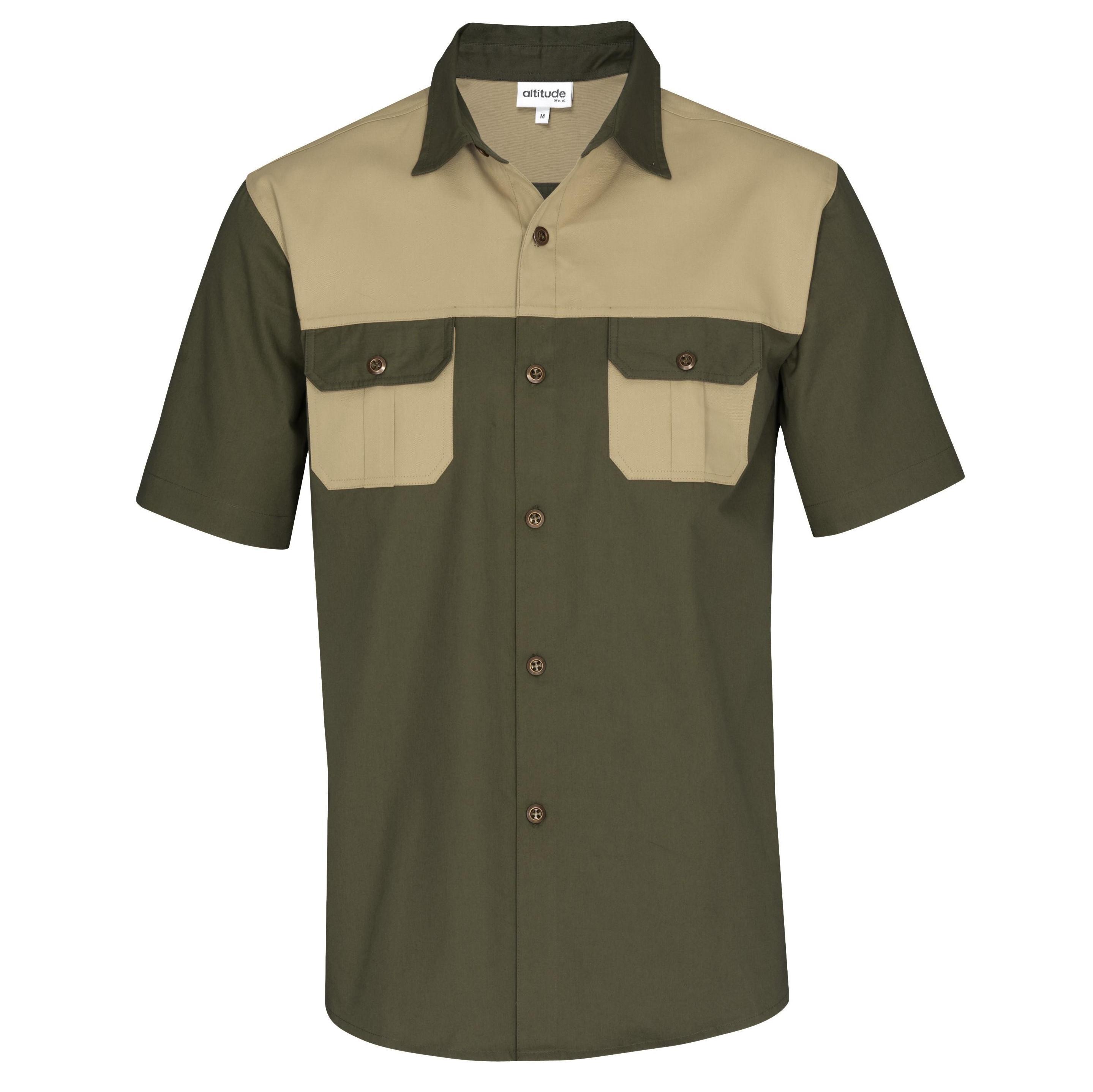 Mens Short Sleeve Serengeti 2-tone Bush Shirt