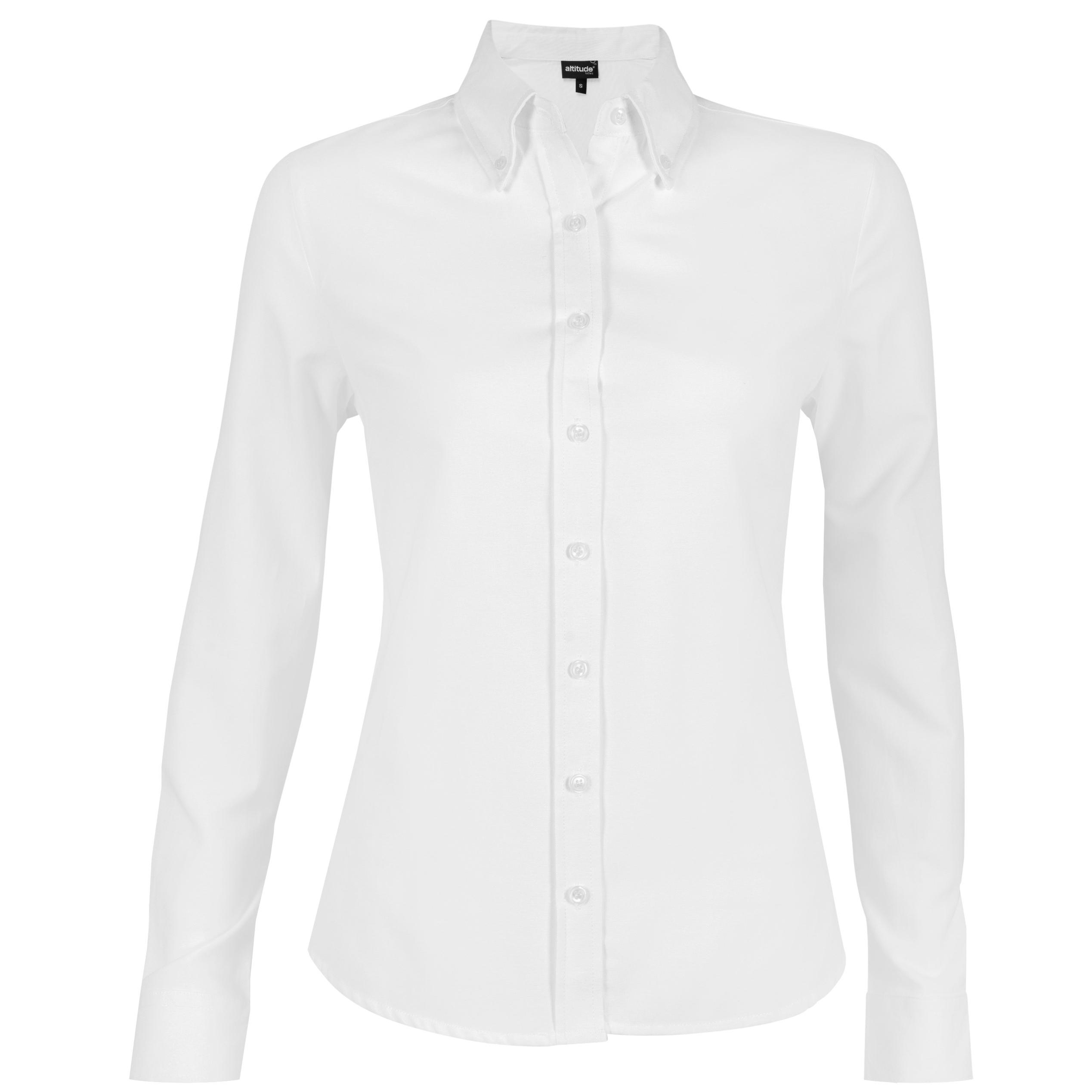 Ladies Long Sleeve Oxford Shirt -white Only