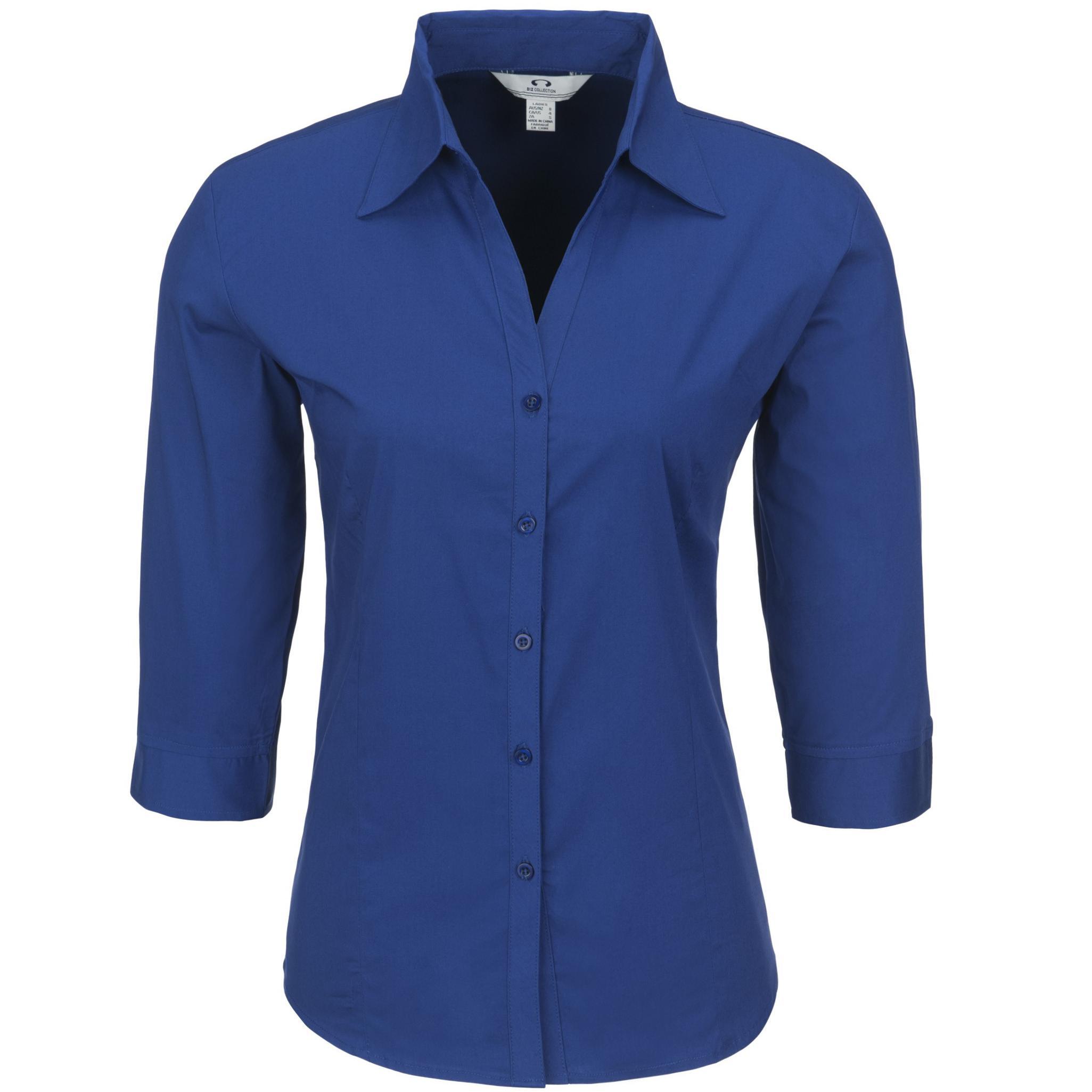 Ladies 3/4 Sleeve Metro Shirt - Royal Blue Only
