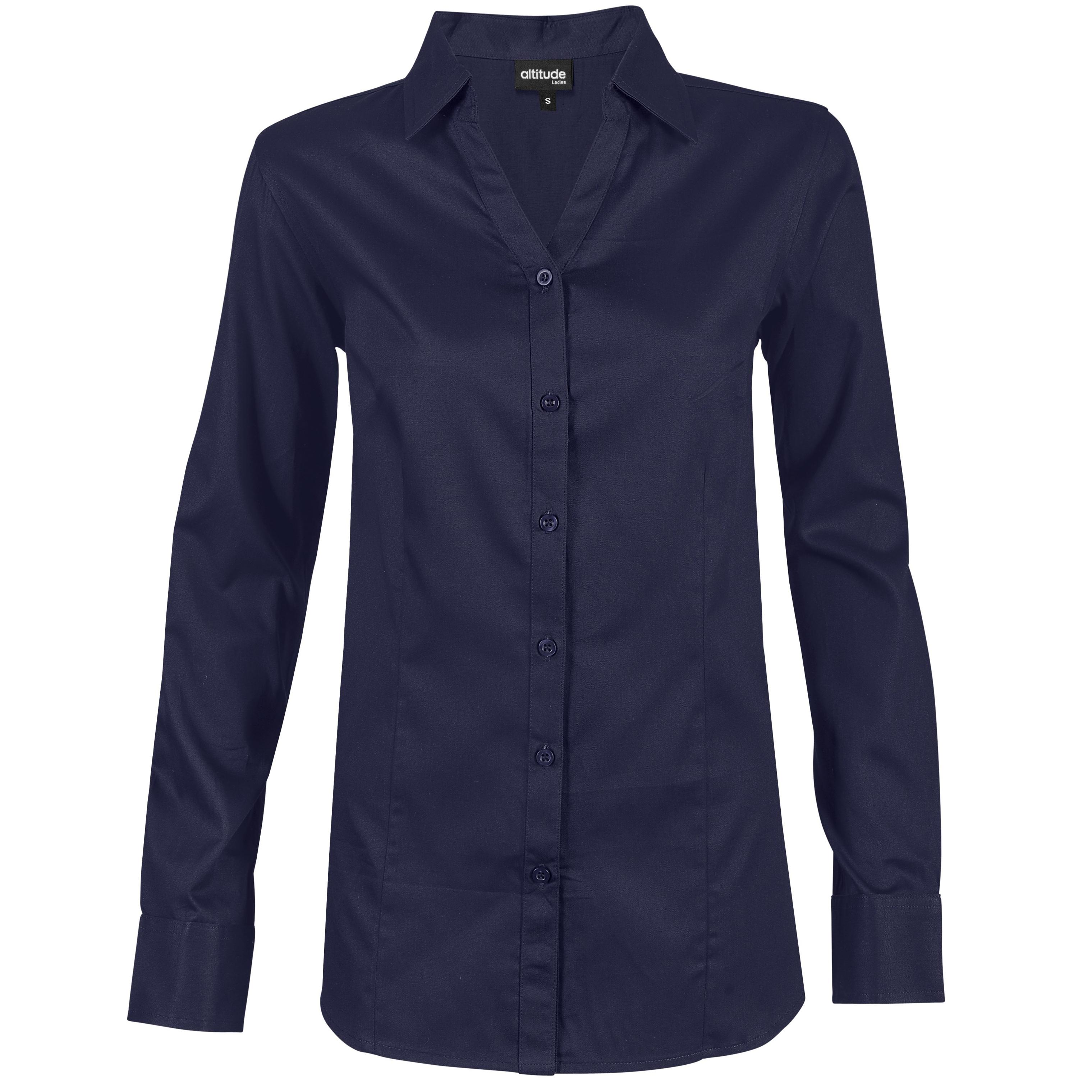 Ladies Long Sleeve Seattle Twill Shirt - Navy Only