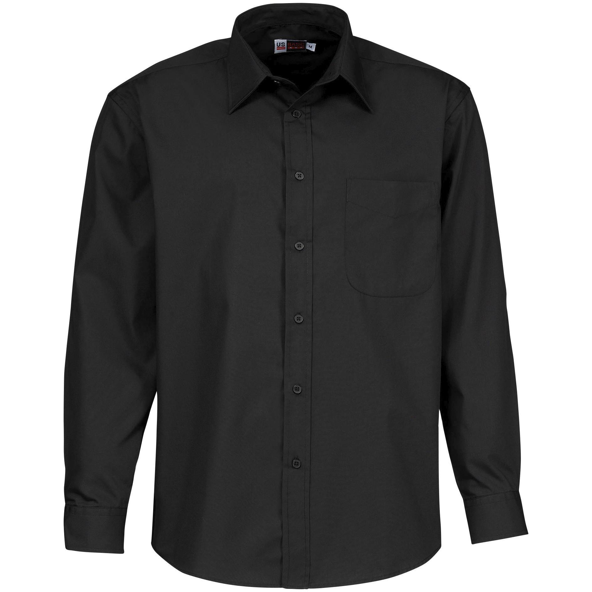 Mens Long Sleeve Washington Shirt - Black Only