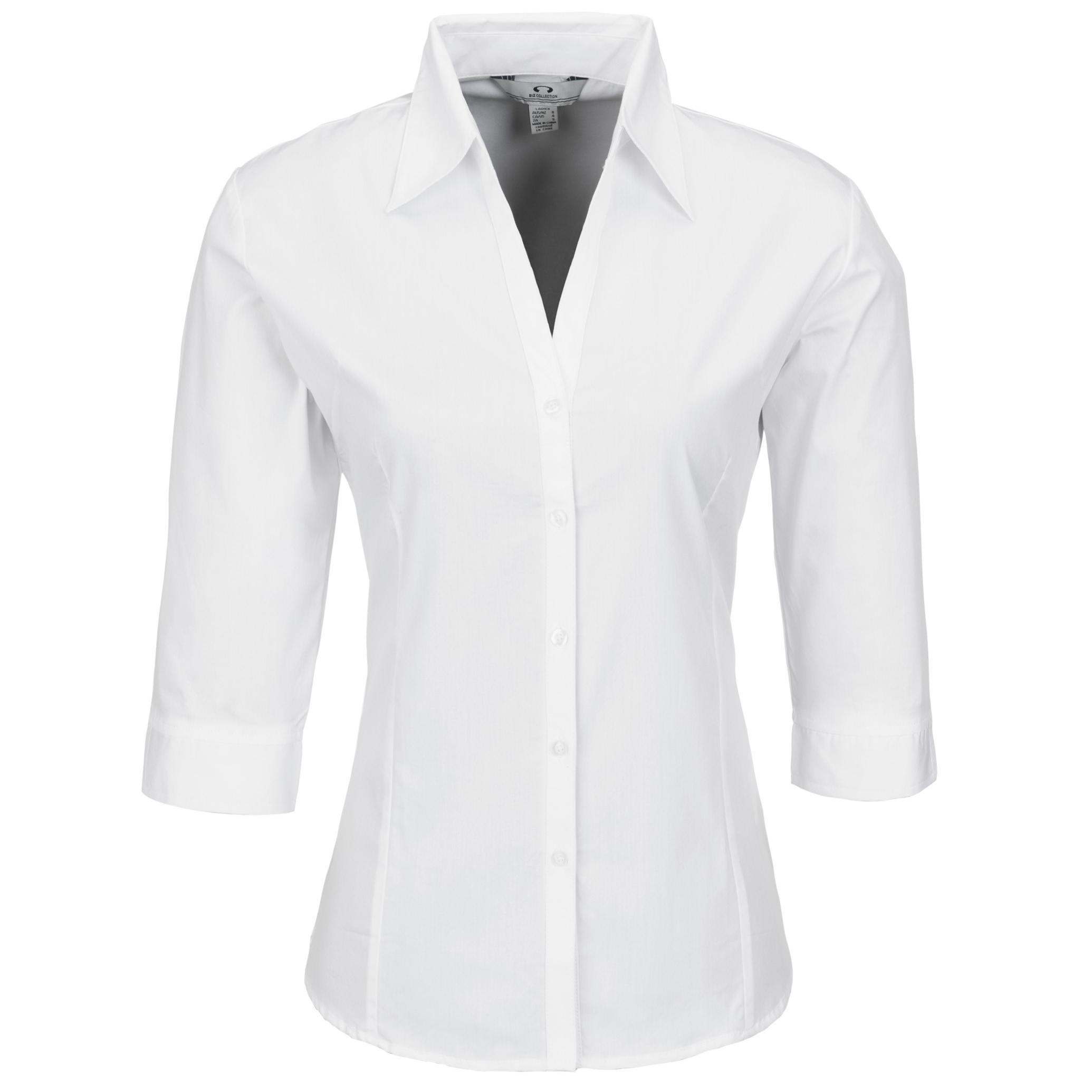 Ladies 3/4 Sleeve Metro Shirt - White Only