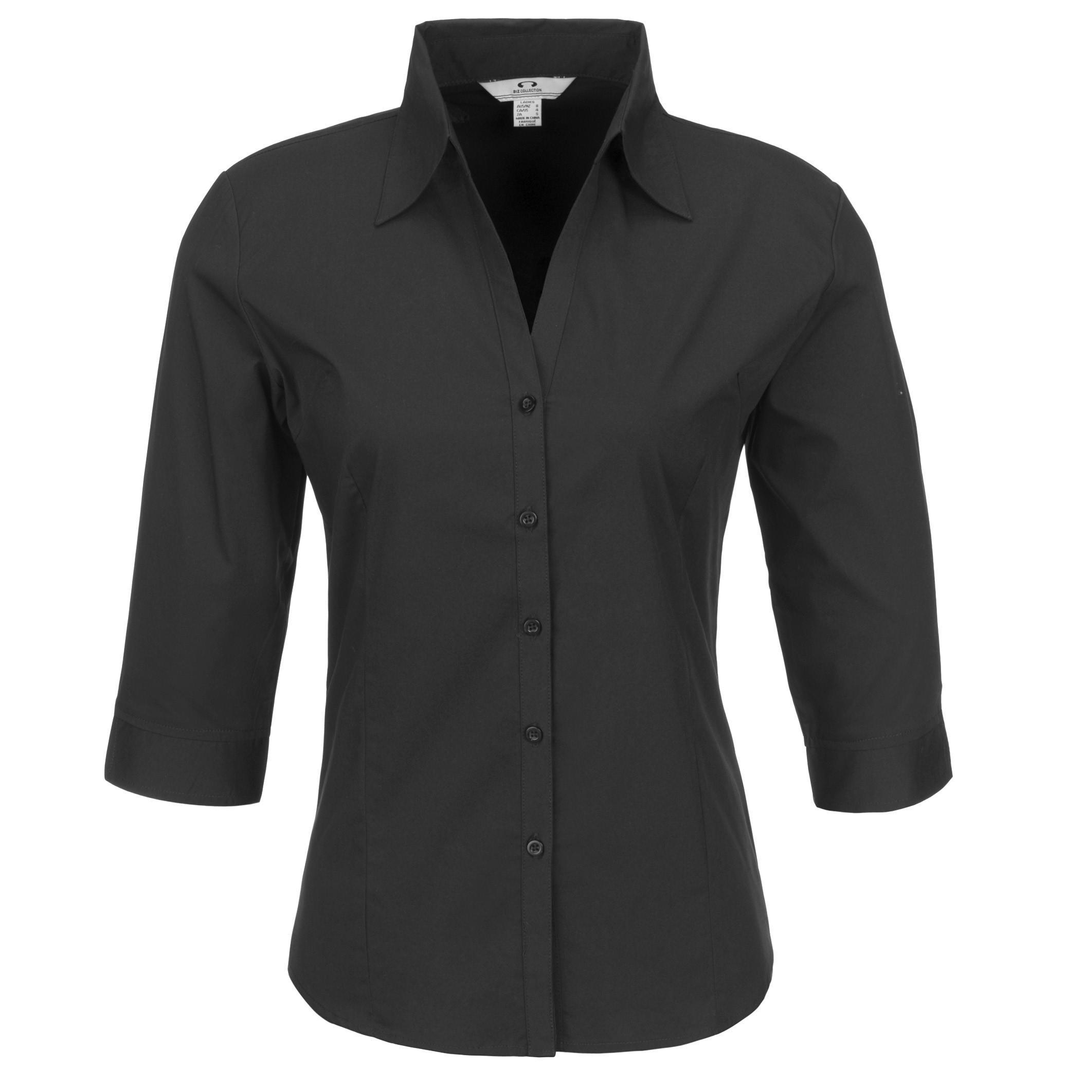Ladies 3/4 Sleeve Metro Shirt - Black Only