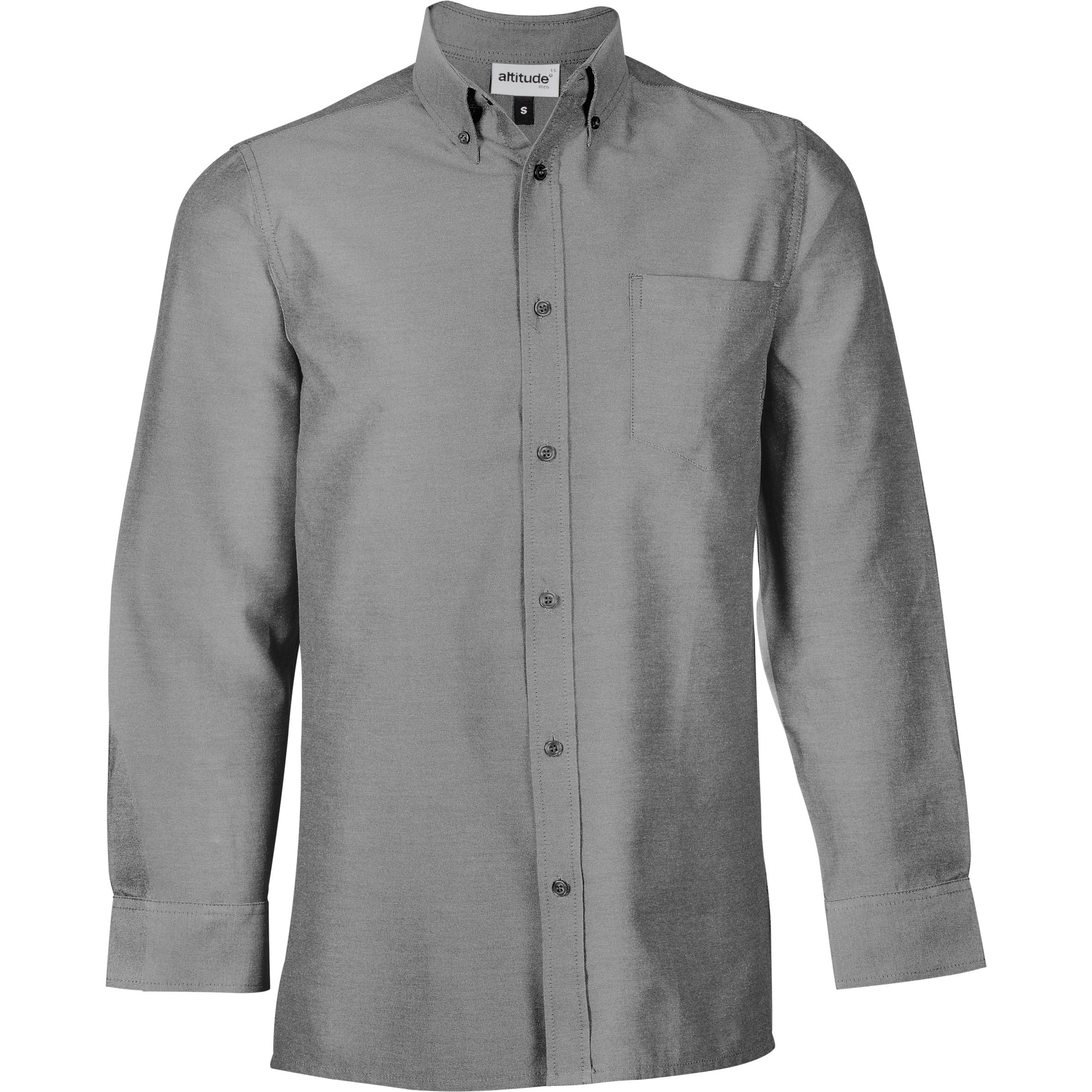 Mens Long Sleeve Oxford Shirt - Charcoal Only