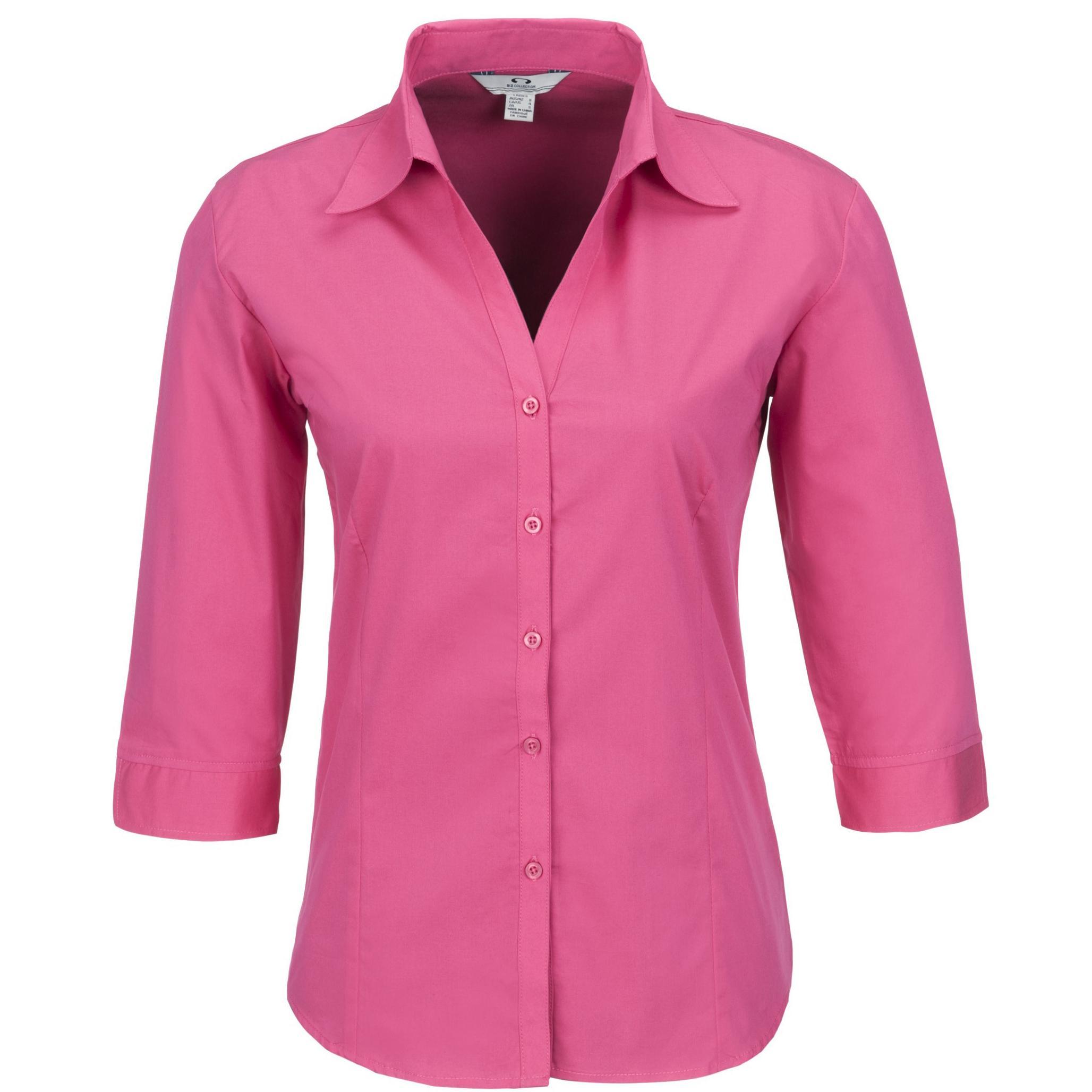 Ladies 3/4 Sleeve Metro Shirt - Fuscia Only