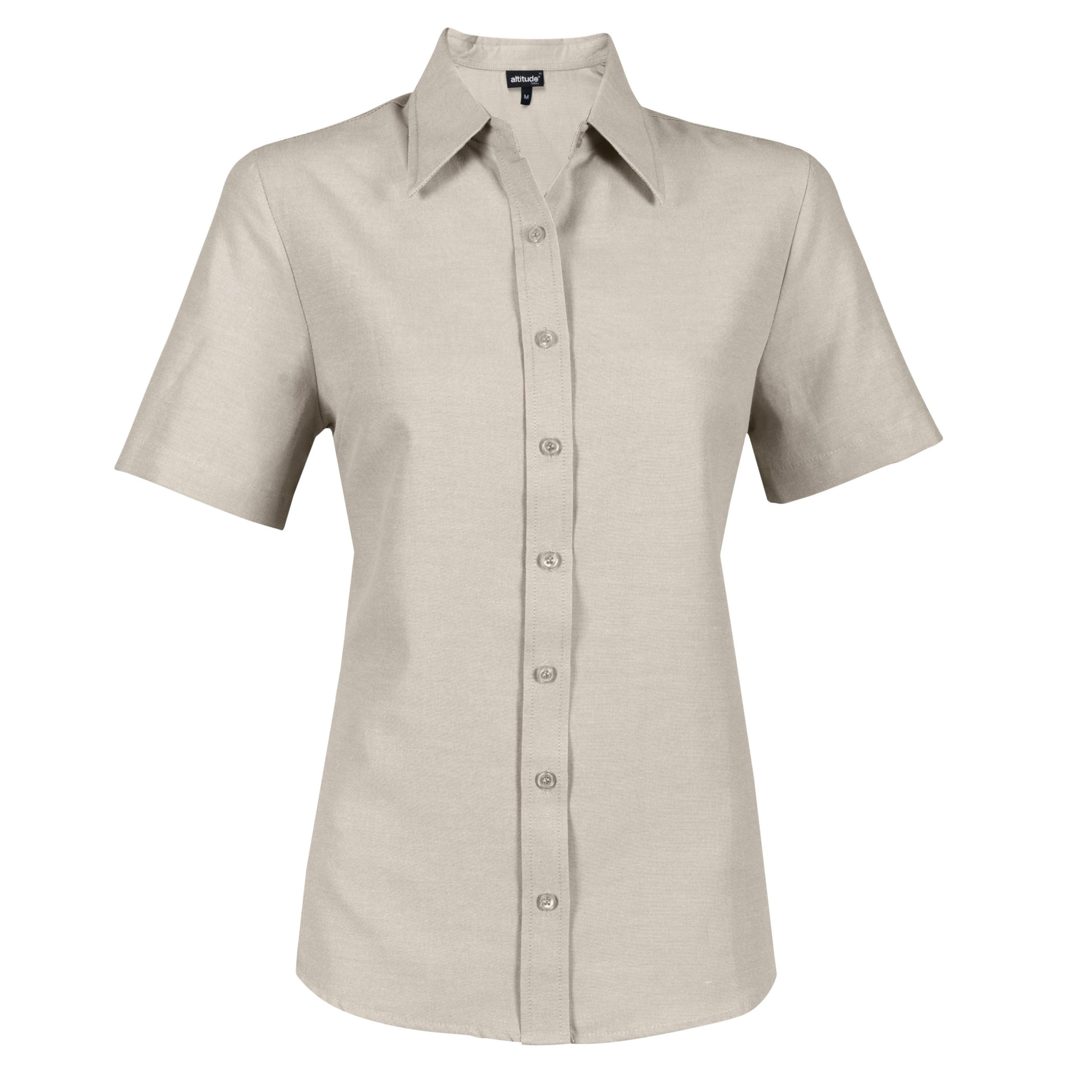 Ladies Short Sleeve Oxford Shirt - Stone Only