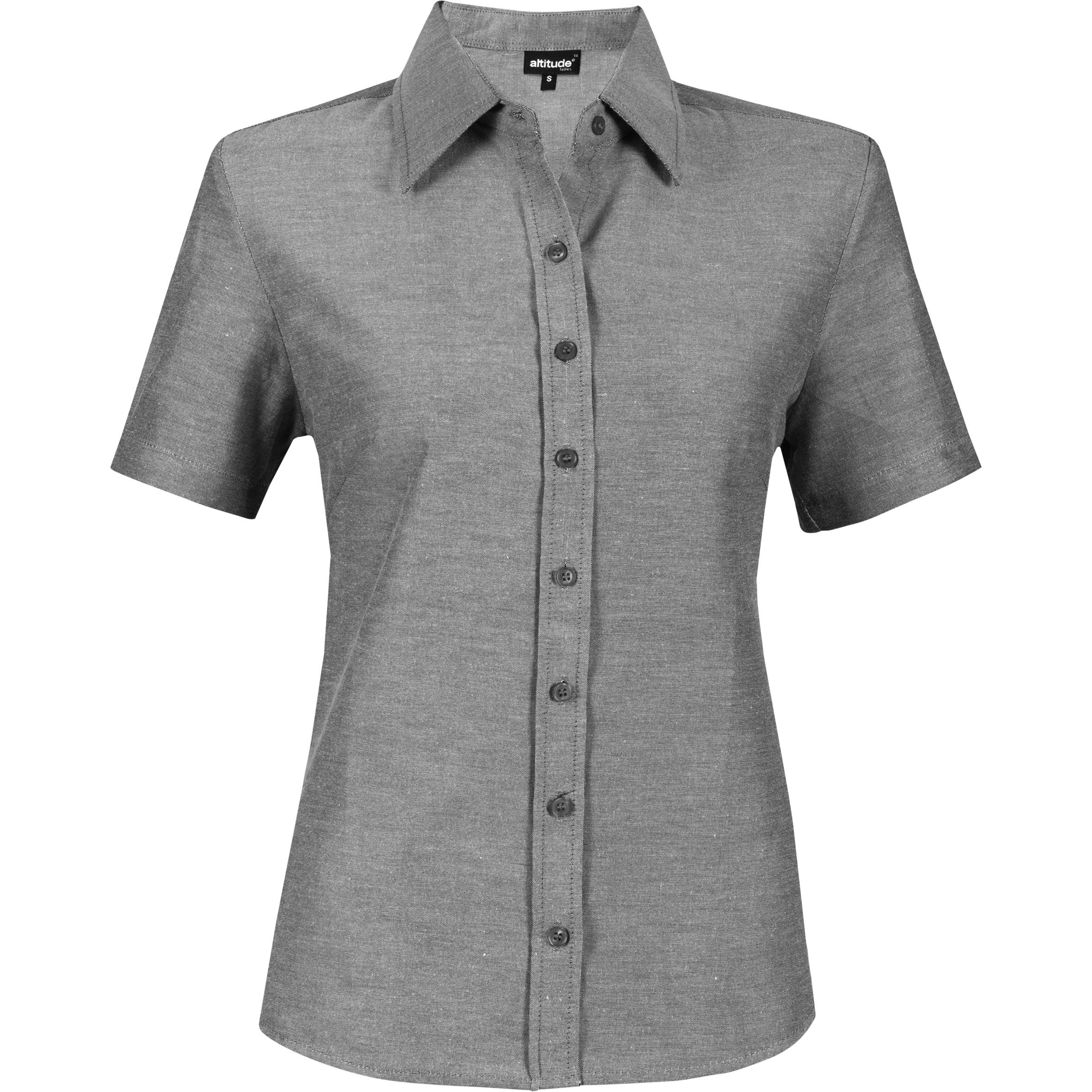 Ladies Short Sleeve Oxford Shirt - Charcoal Only