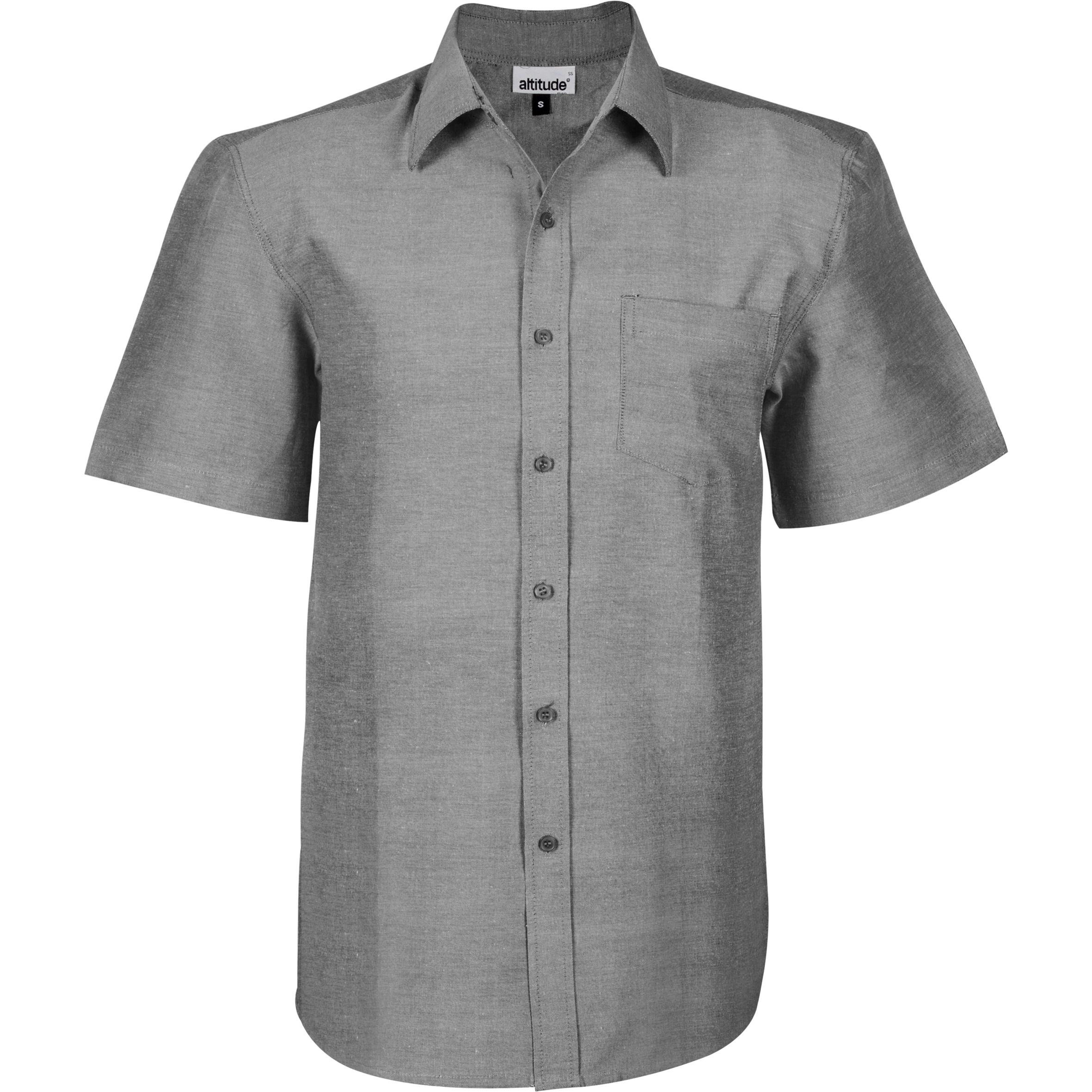 Mens Short Sleeve Oxford Shirt - Charcoal Only