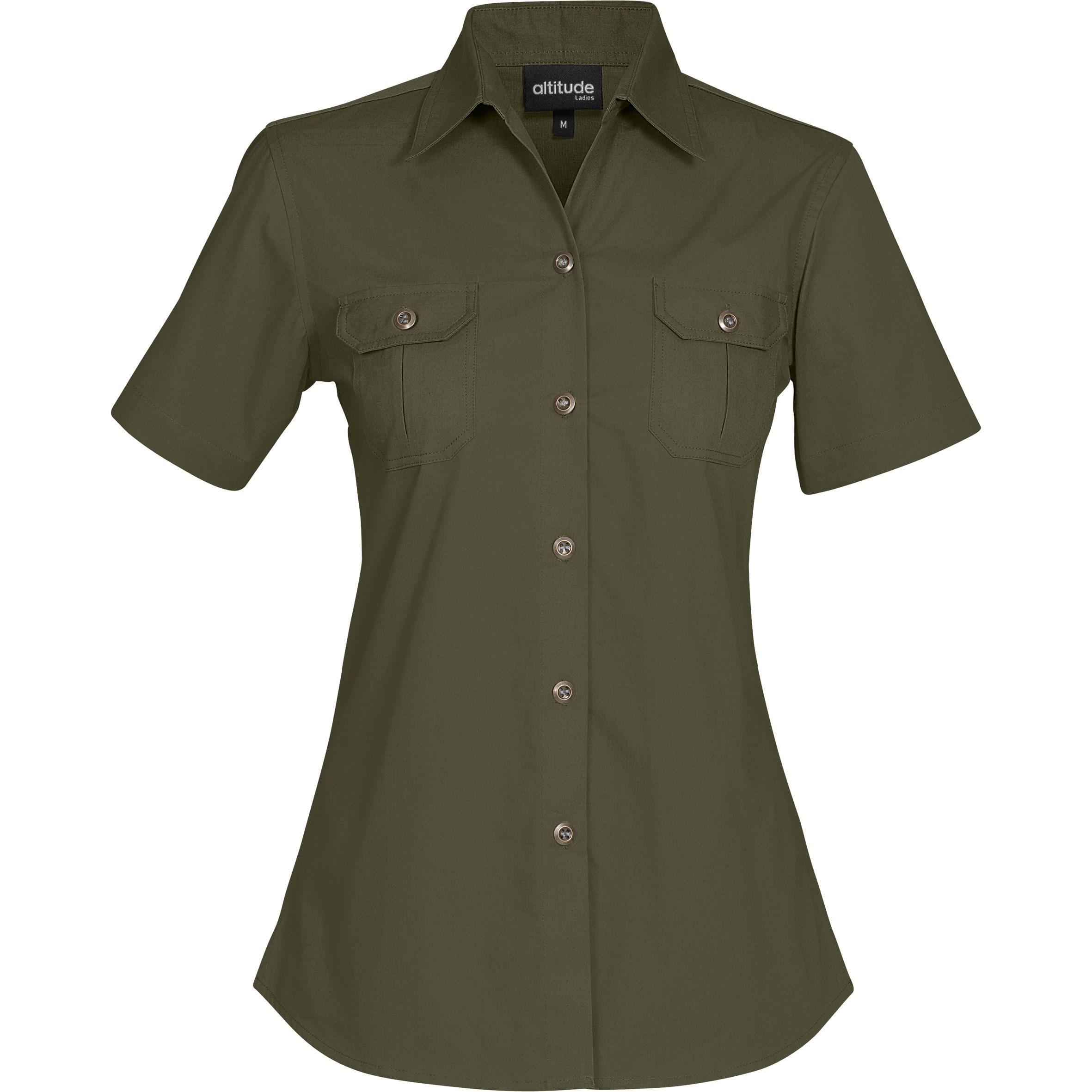 Ladies Short Sleeve Oryx Bush Shirt - Military Green Only