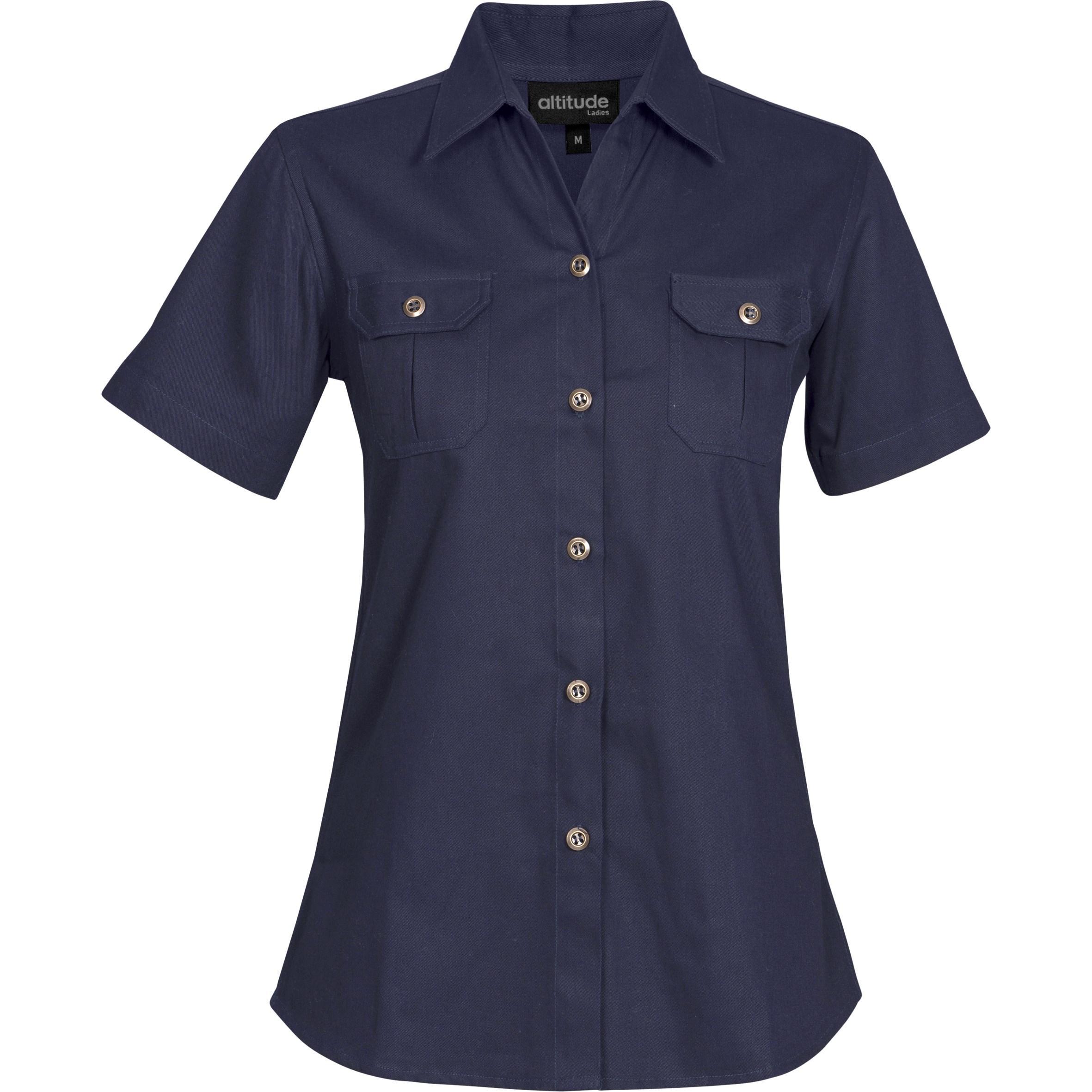 Ladies Short Sleeve Oryx Bush Shirt - Navy Only