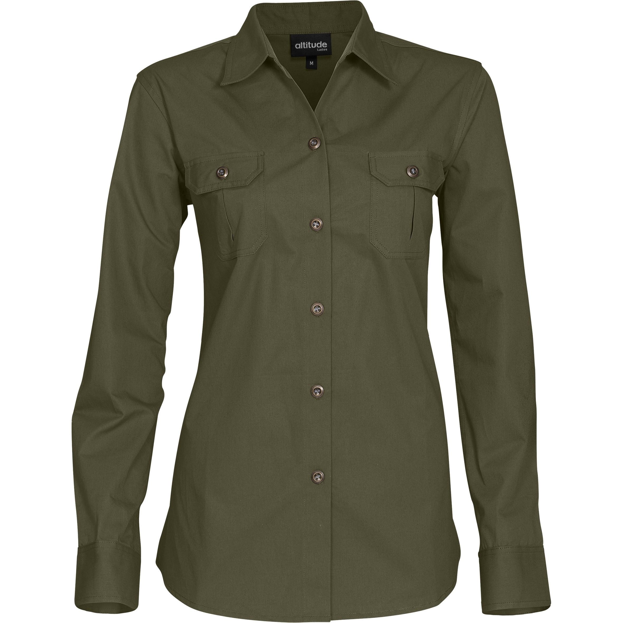 Ladies Long Sleeve Oryx Bush Shirt - Military Green Only