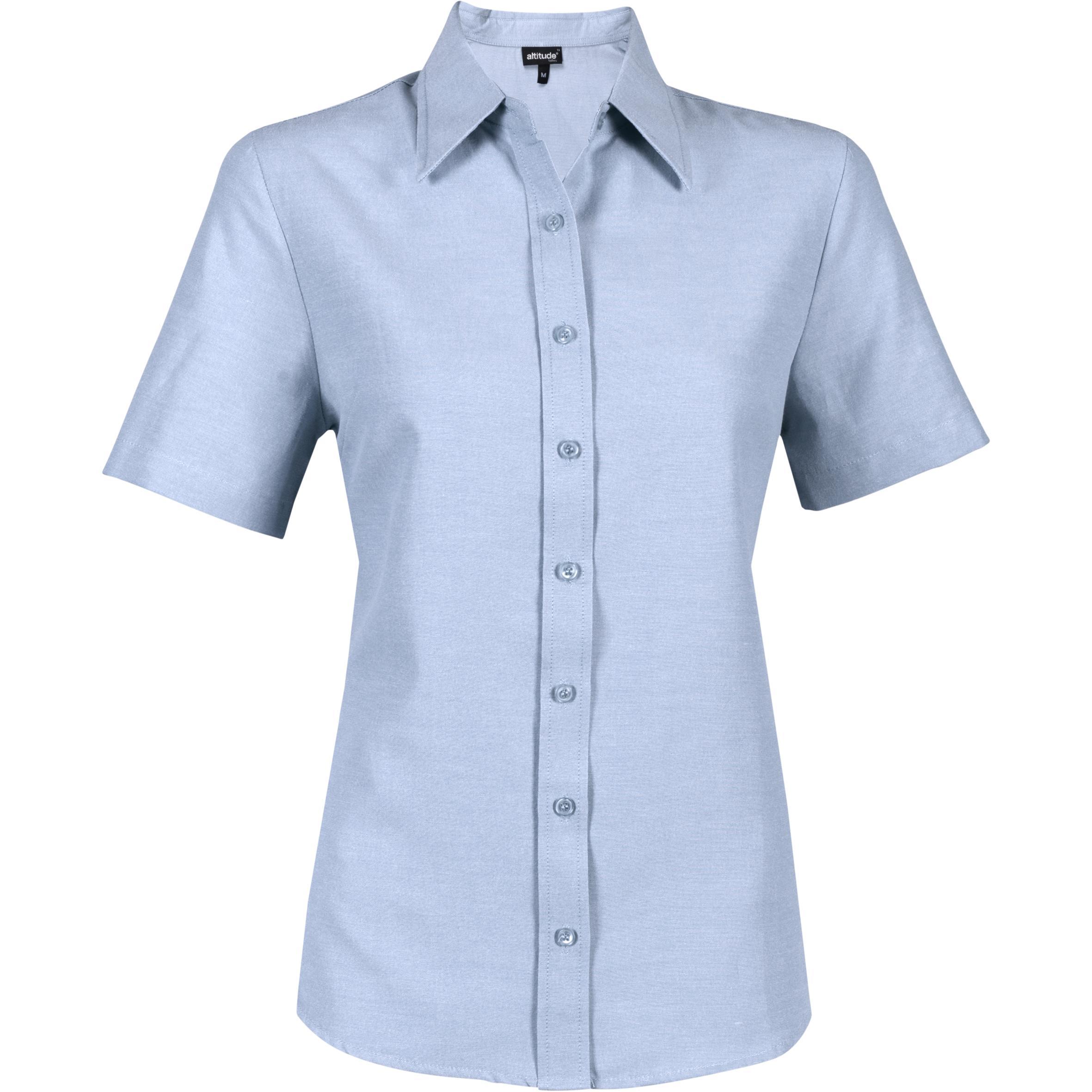 Ladies Short Sleeve Oxford Shirt - Light Blue Only