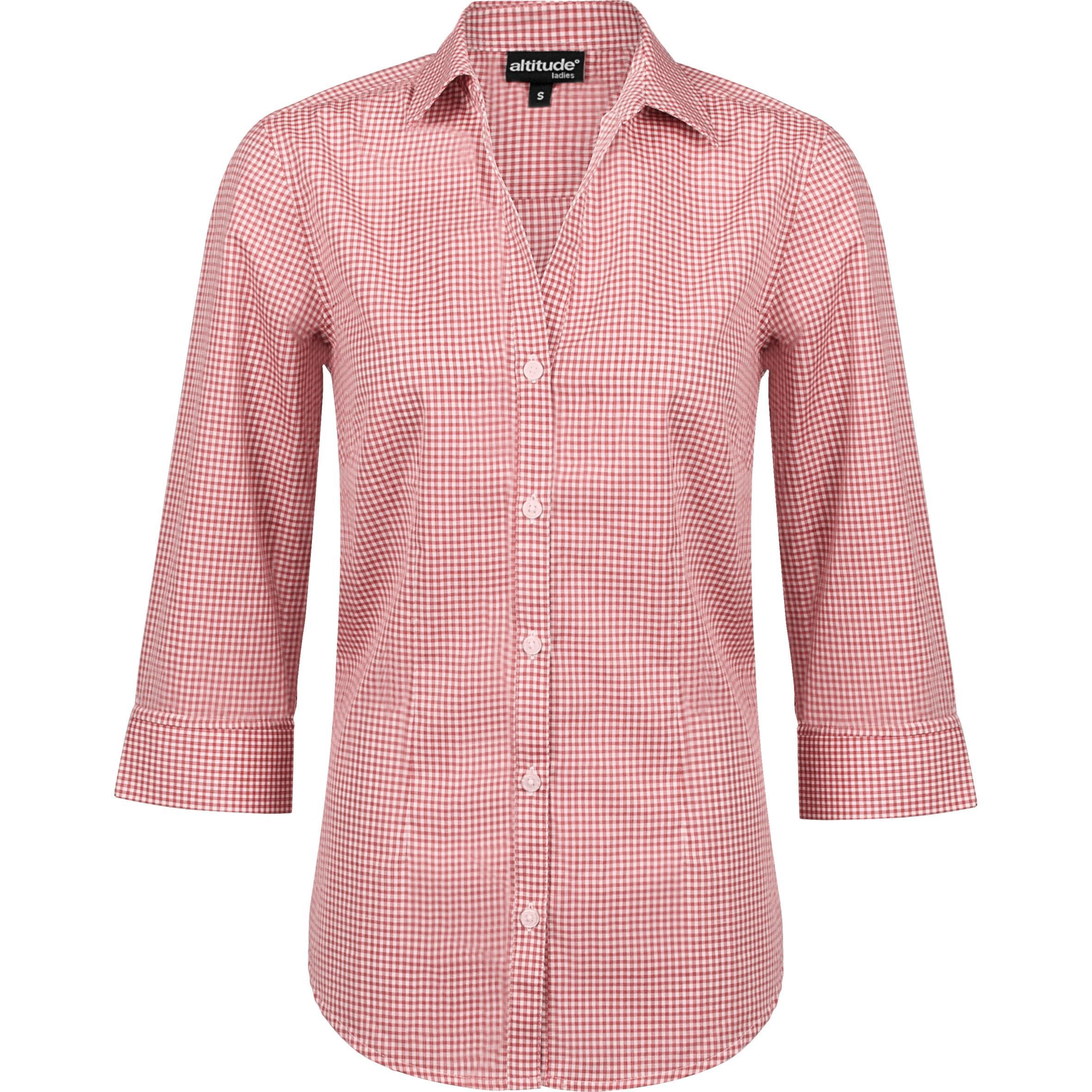 Ladies ¾ Sleeve Edinburgh Shirt - Red Only