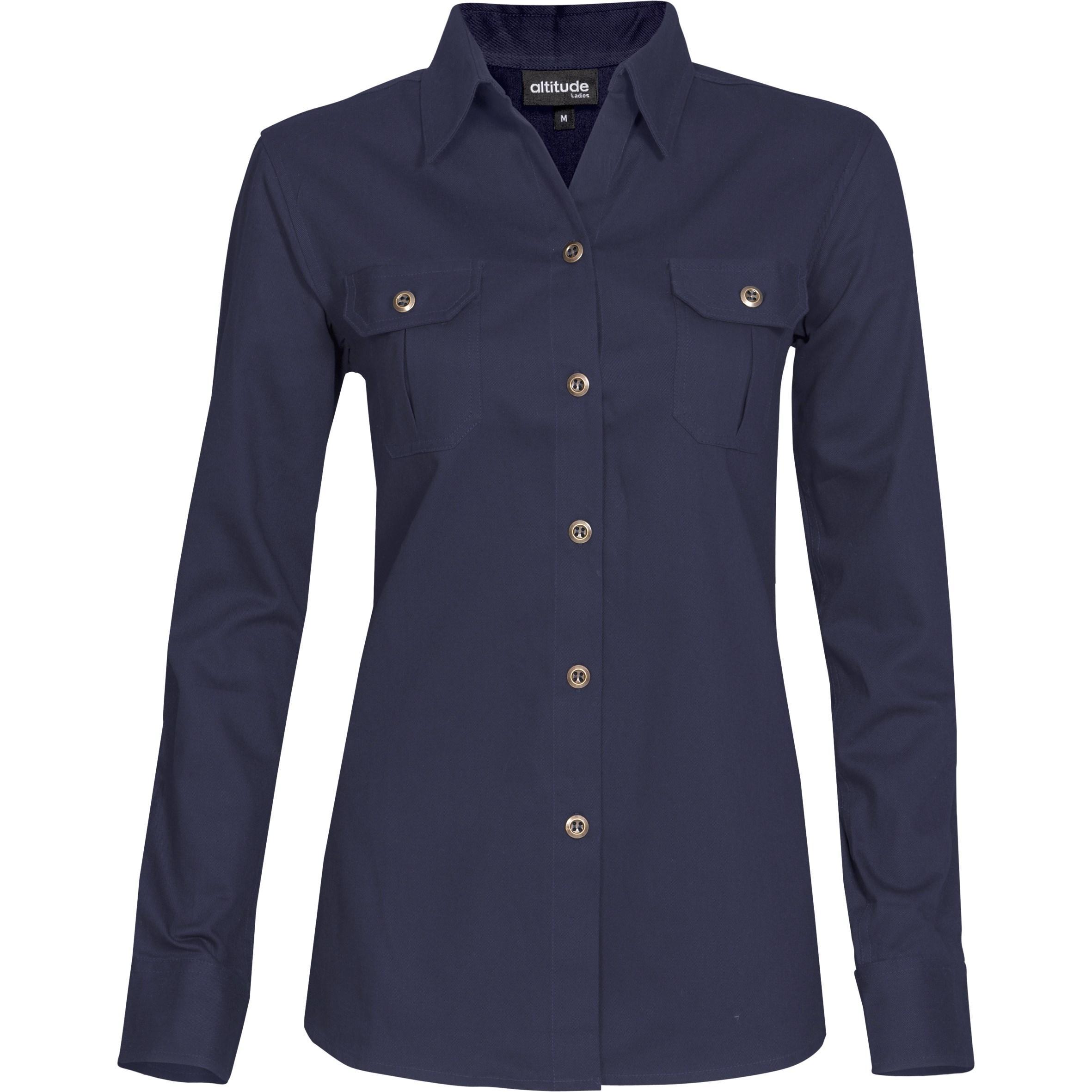 Ladies Long Sleeve Oryx Bush Shirt - Navy Only