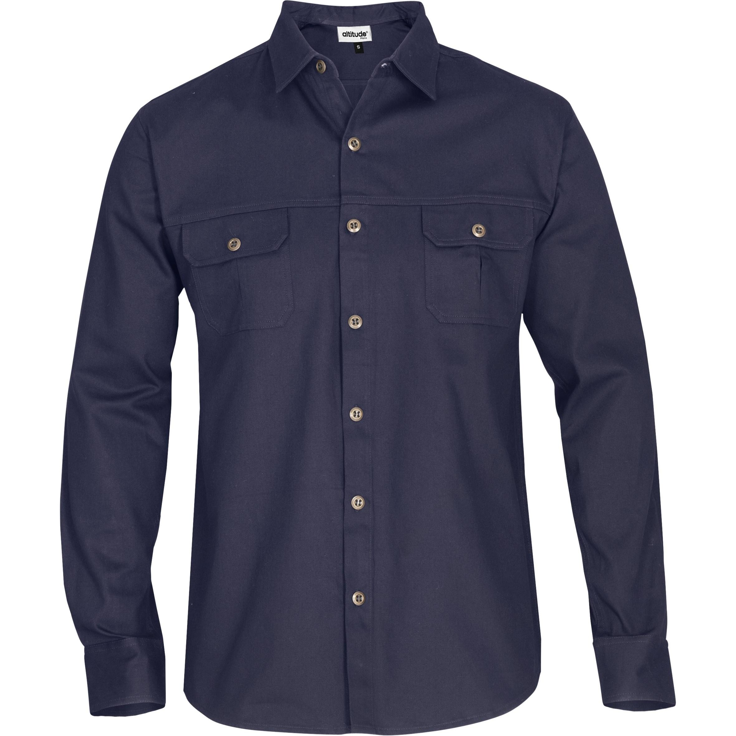 Mens Long Sleeve Oryx Bush Shirt - Navy Only