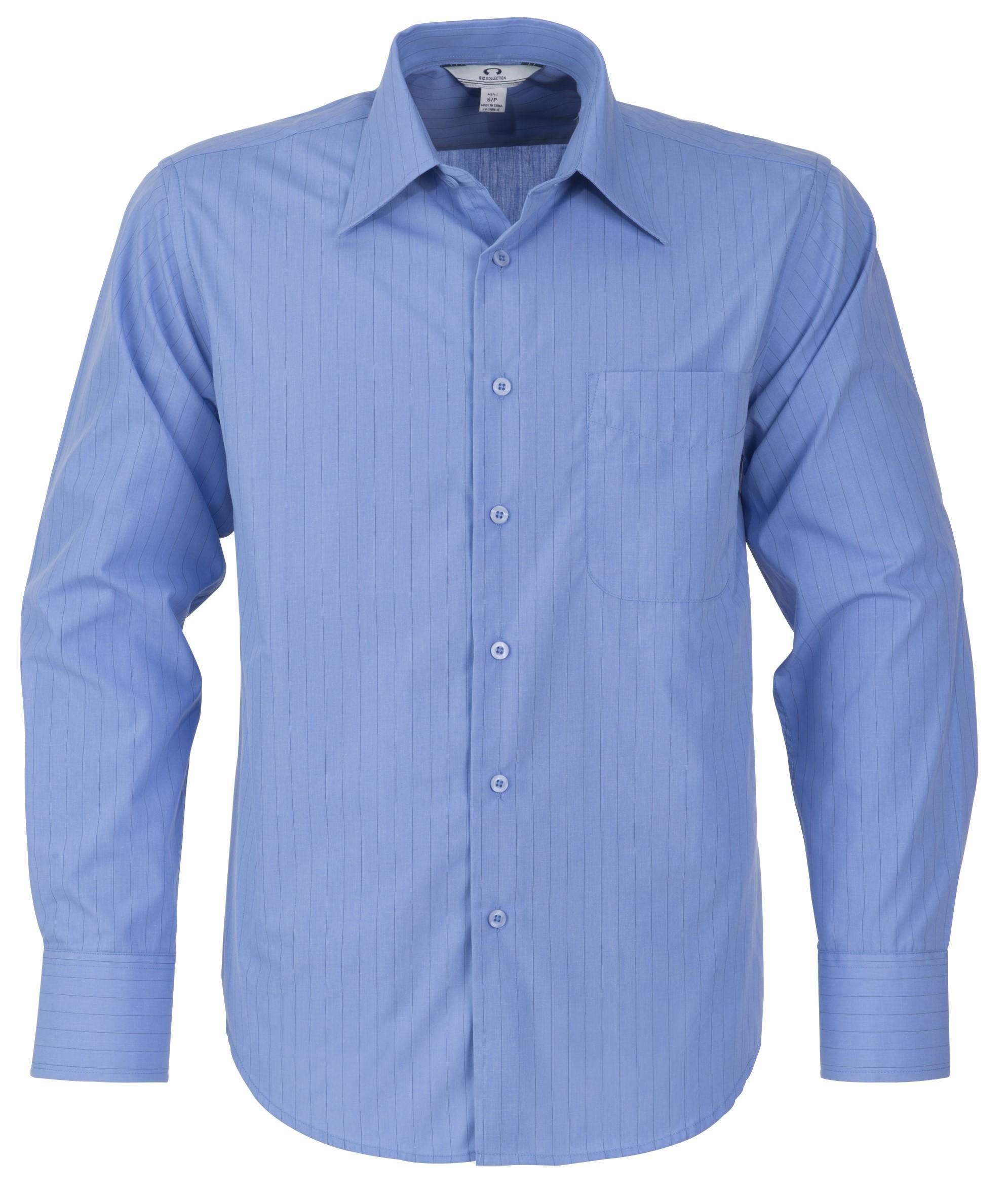 Mens Long Sleeve Manhattan Striped Shirt - Light Blue Only