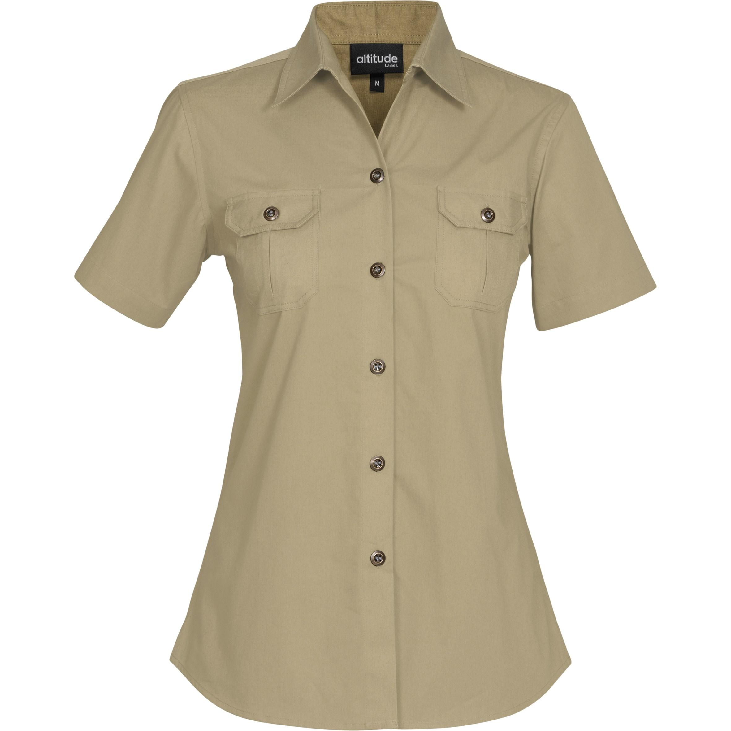 Ladies Short Sleeve Oryx Bush Shirt - Stone Only