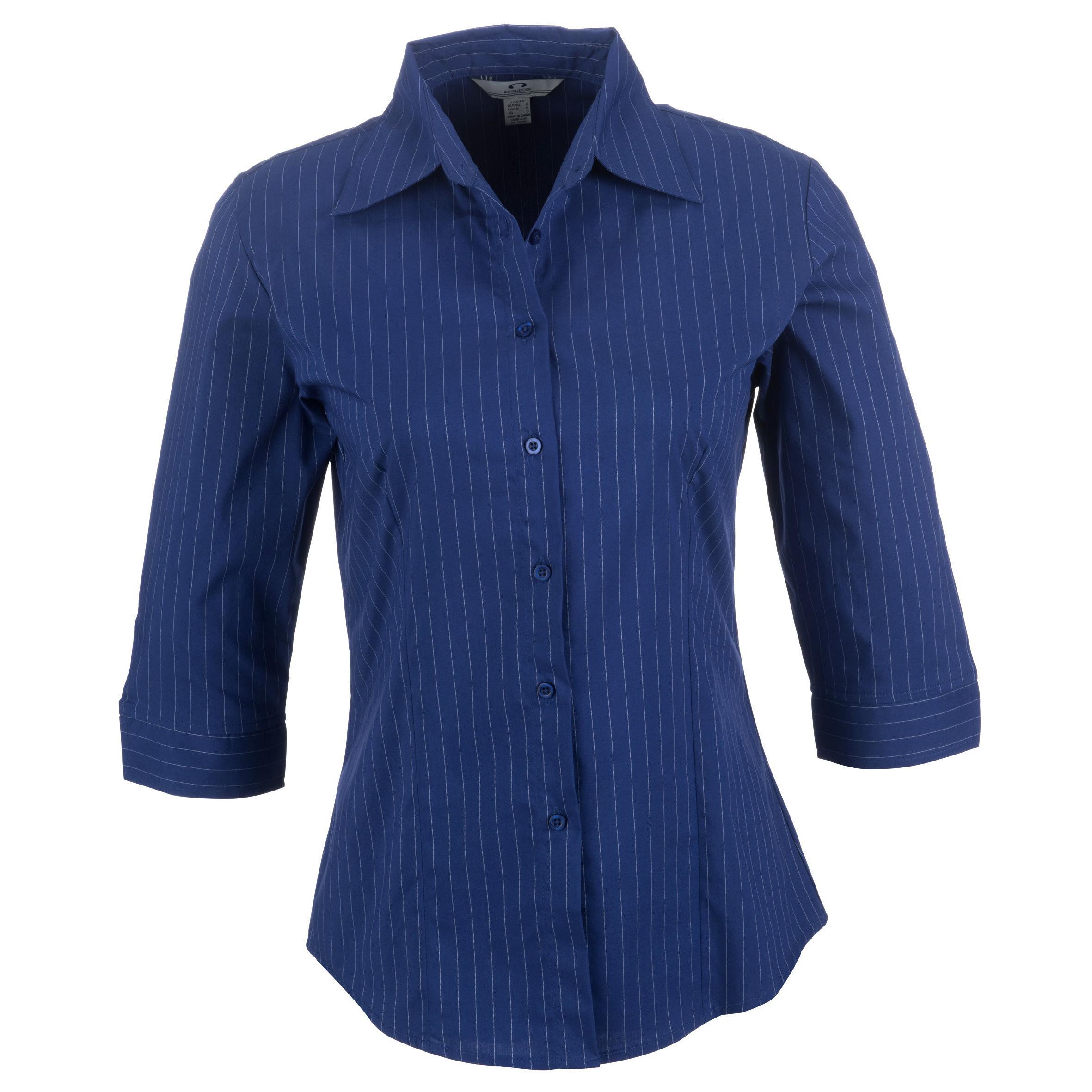 Ladies 3/4 Sleeve Manhattan Striped Shirt - Blue Only