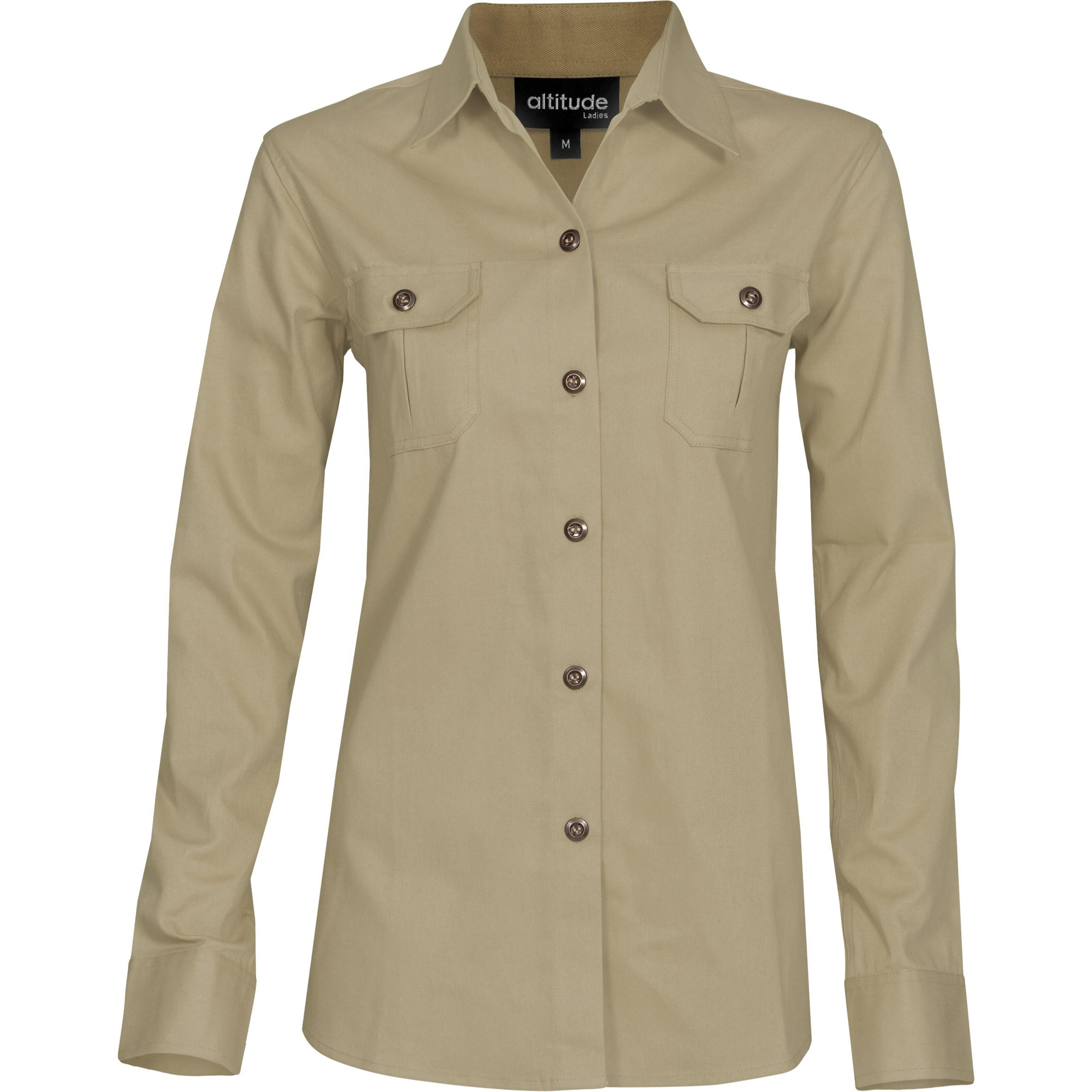 Ladies Long Sleeve Oryx Bush Shirt - Stone Only