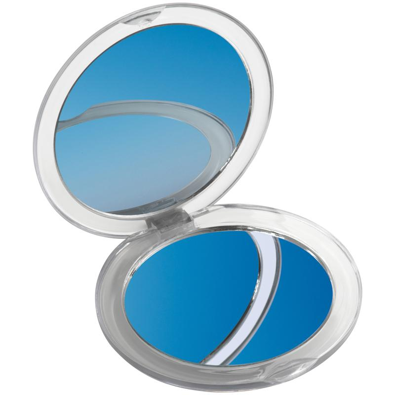 Plastic Compact Mirror With Standard And Magnifying Mirror.