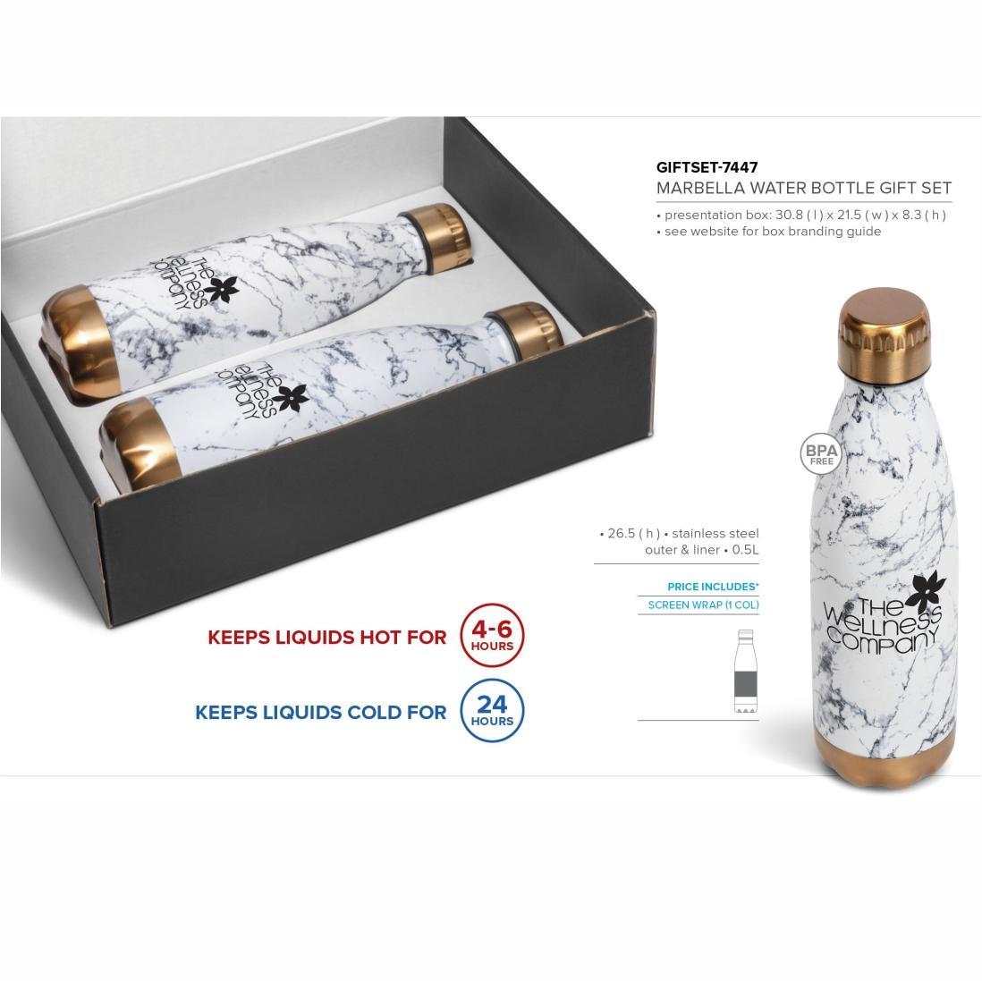 Marbella Water Bottle Gift Set - Bronze Only